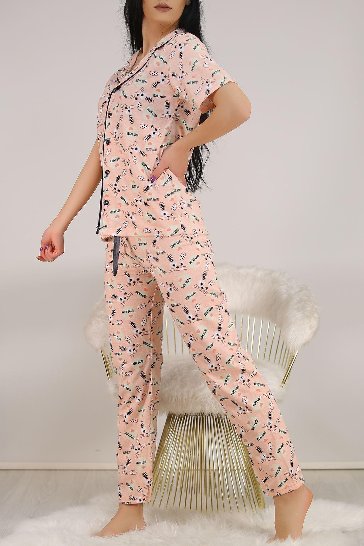 Düğmeli Pijama Takımı Desenlipudra - 4782.102. Toptan