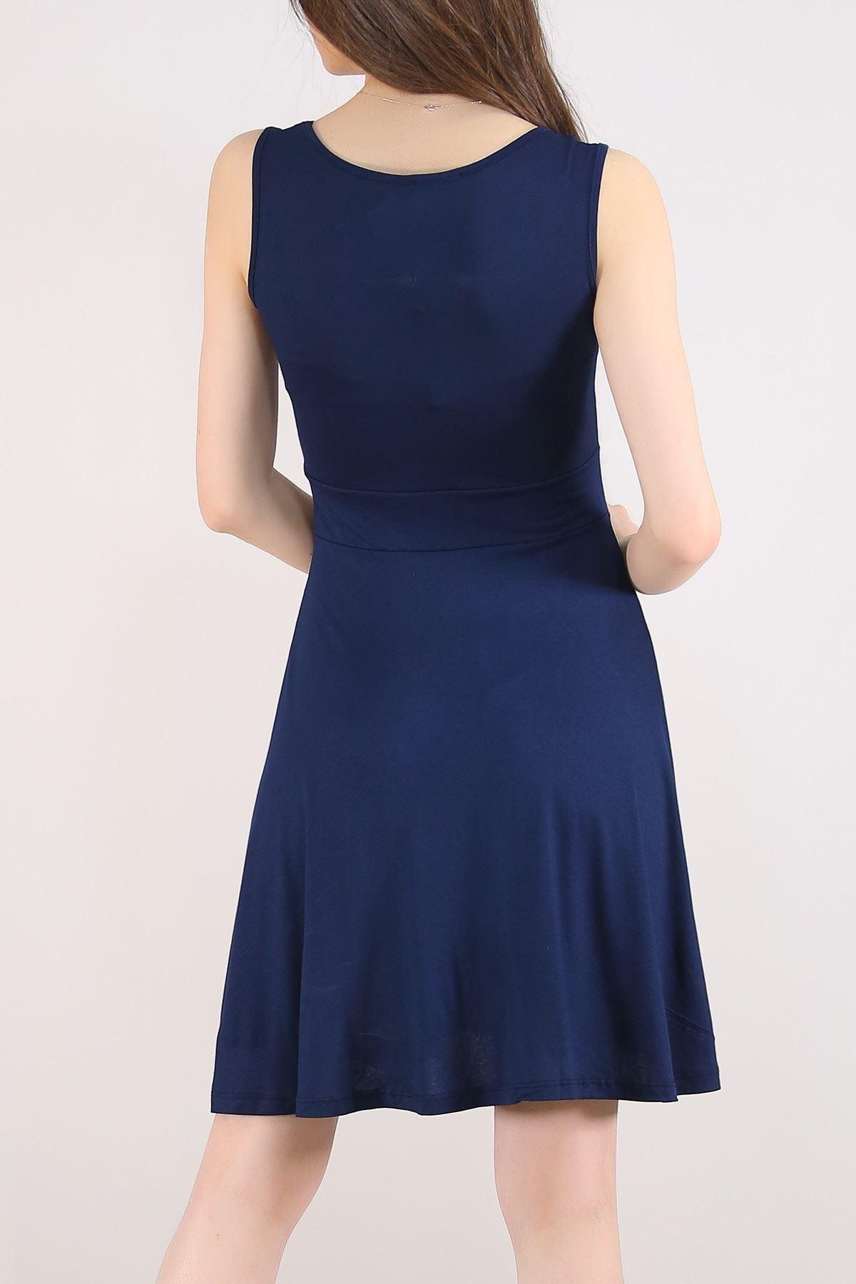 Sıfır Kol Kloş Elbise Lacivert - 5430.716. Toptan