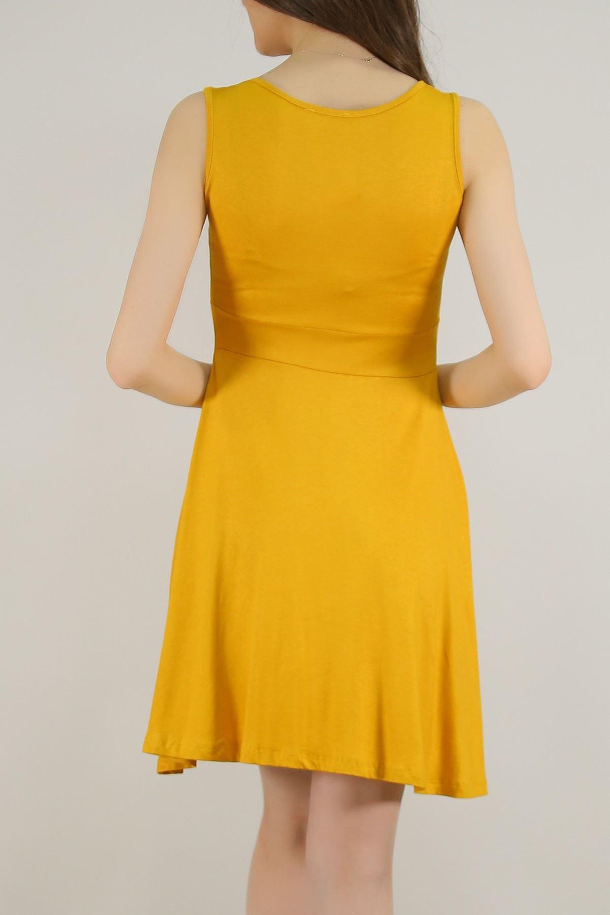 Sıfır Kol Kloş Elbise Sarı - 5430.716. Toptan