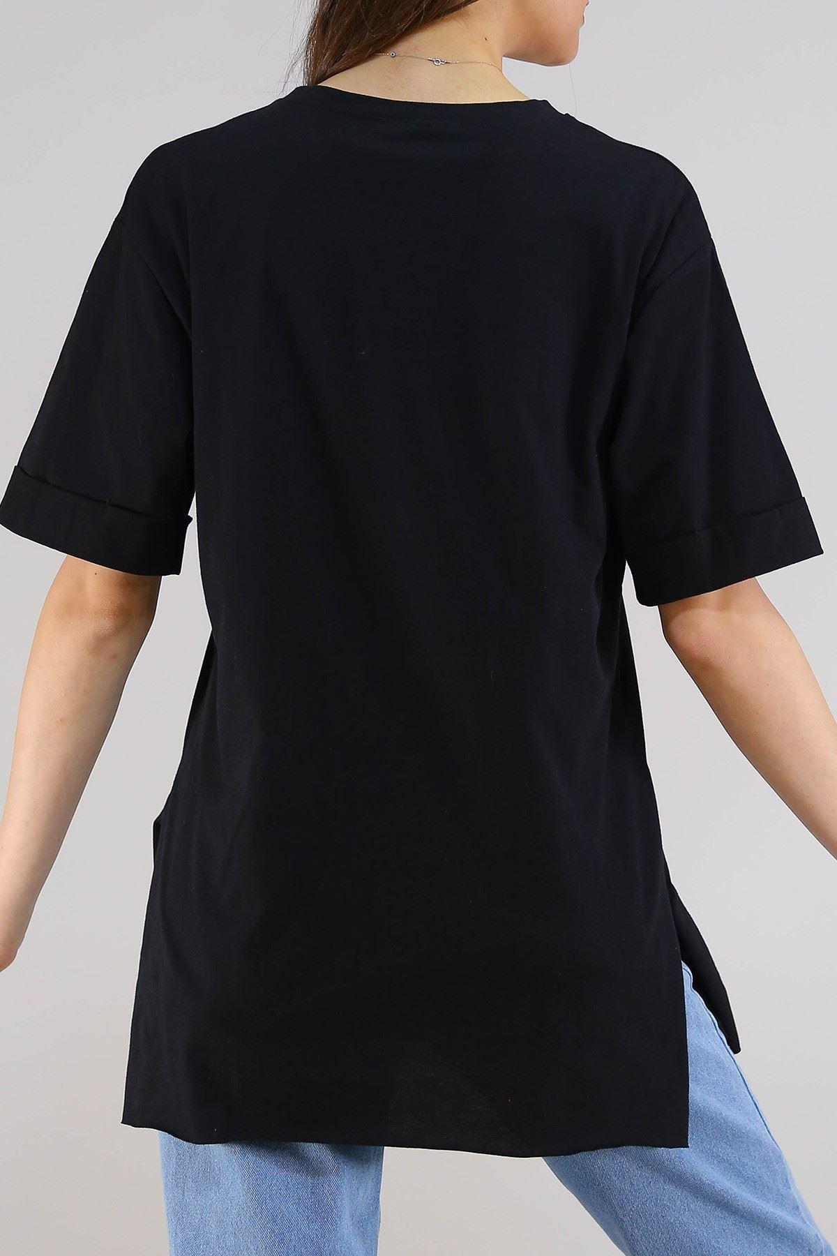 Duble Kol Tişört Siyah - 5270.1247. Toptan
