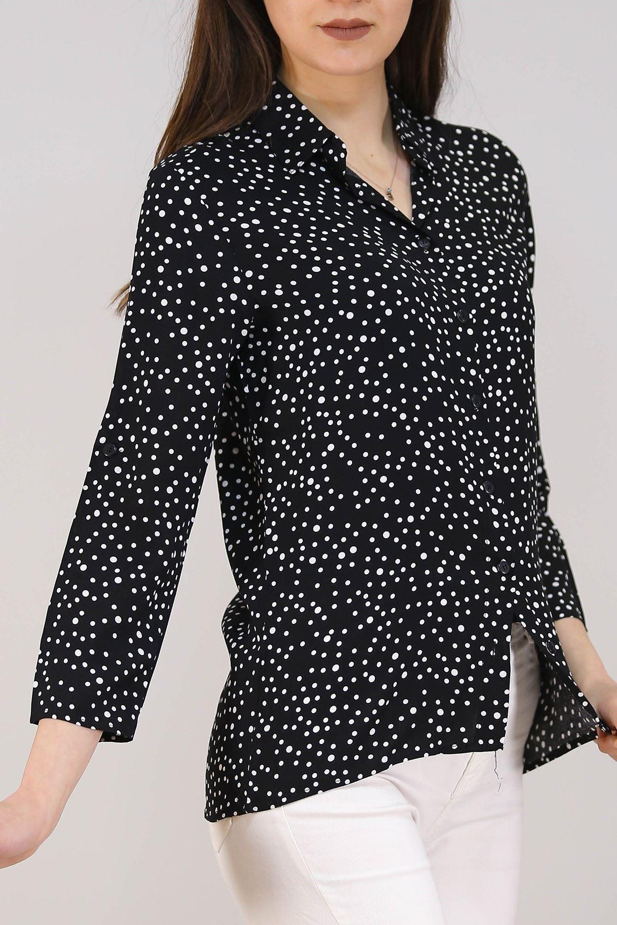 Desenli Gömlek Siyahpuanlı - 5087.128. Toptan