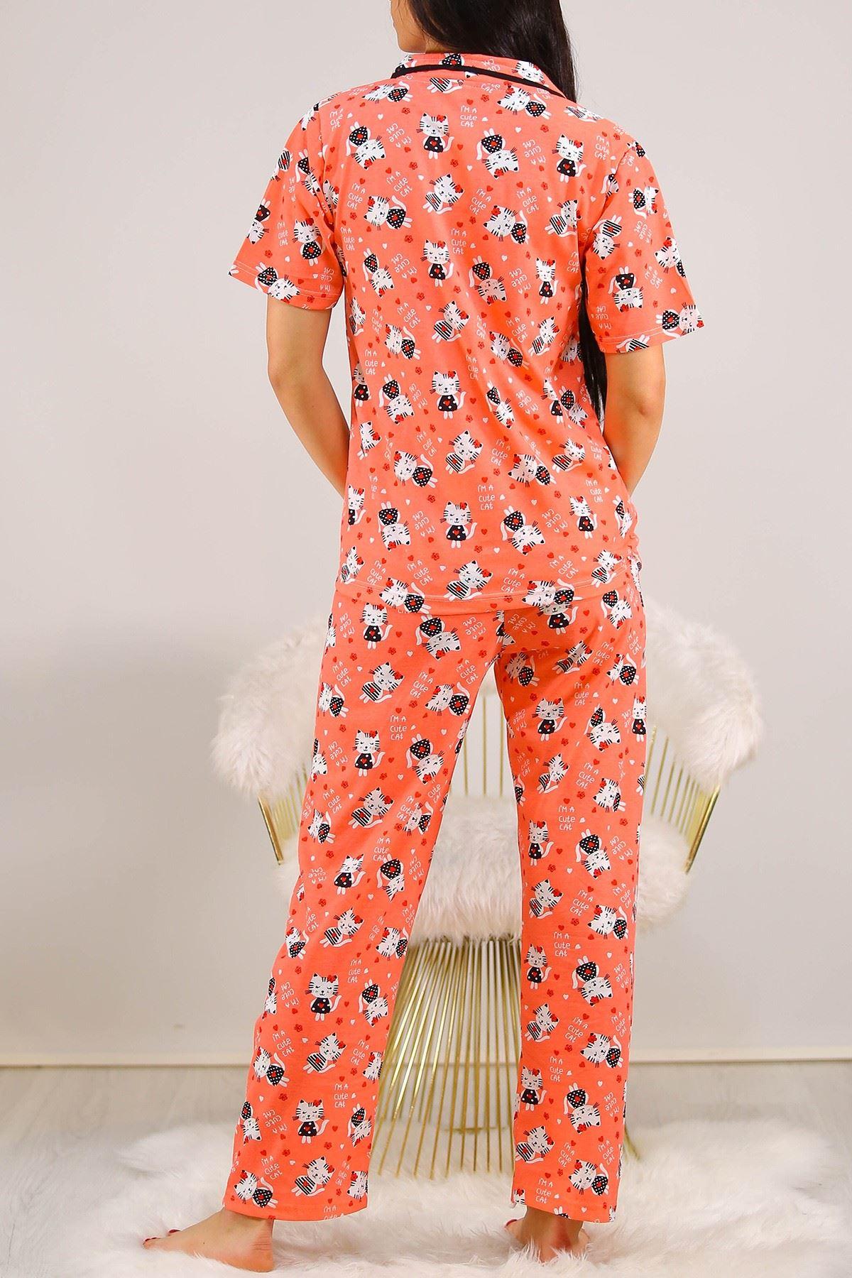Düğmeli Pijama Takımı Yavruağzı - 4782.102. Toptan