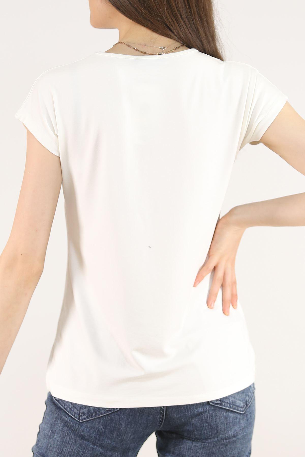 Pullu Tişört Ekru - 5027.139.