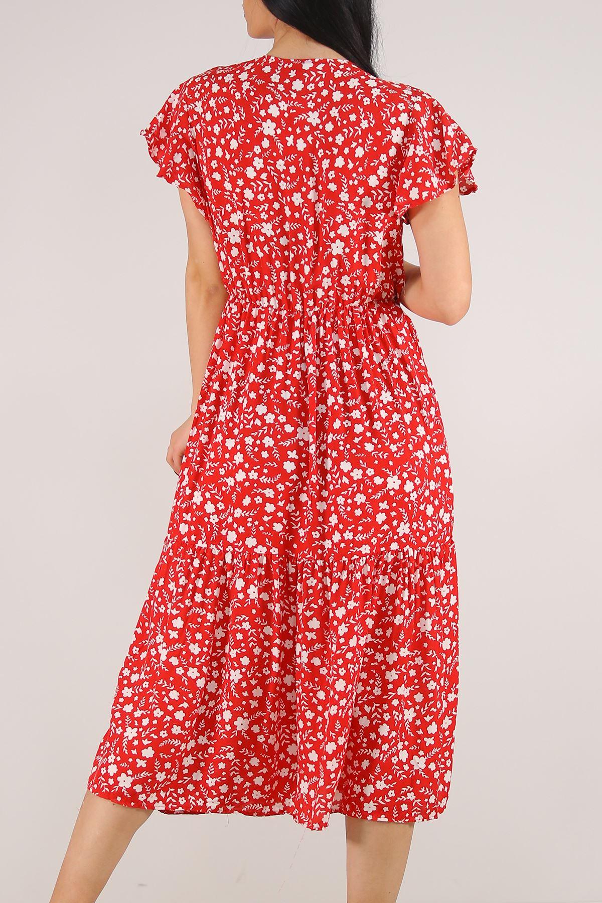 Kruvaze Yaka Elbise Çiçeklikırmızı - 5372.701.