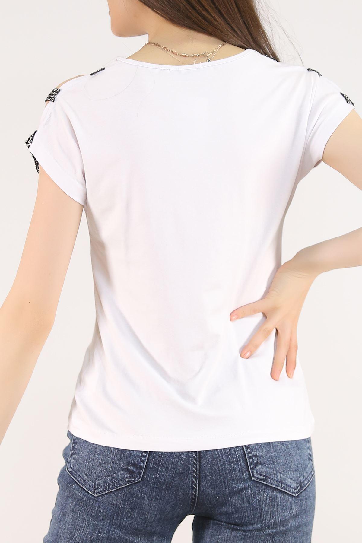 Omuz Taş Askılı Tişört Beyaz - 5544.599.