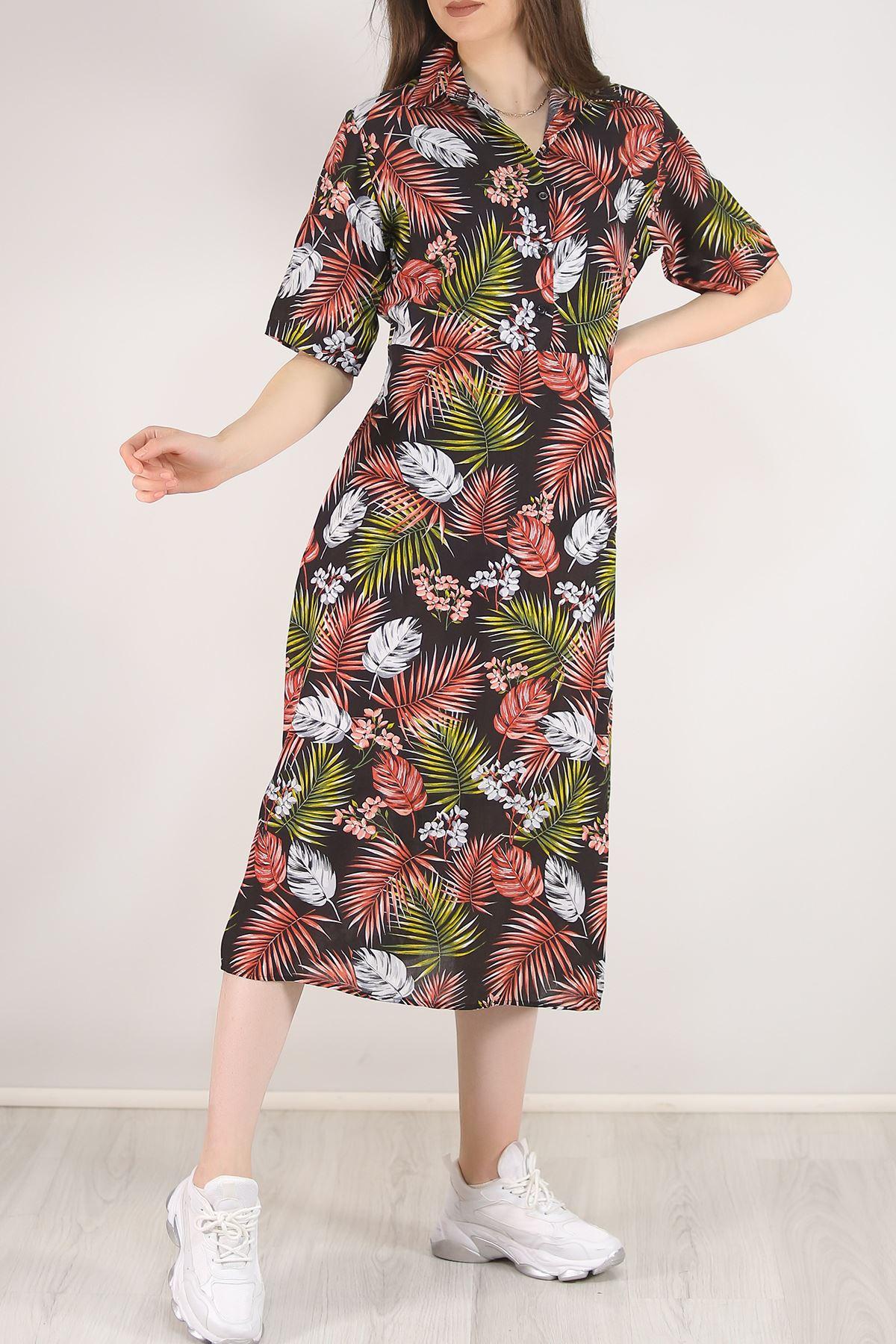 Kısa Kol Kloş Elbise Siyahyapraklı - 5581.701.