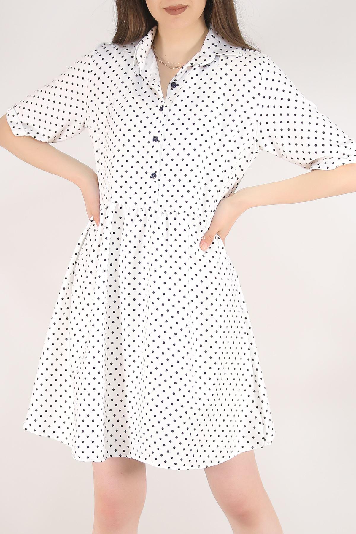 Kısa Puanlı Elbise Beyaz - 5582.701.