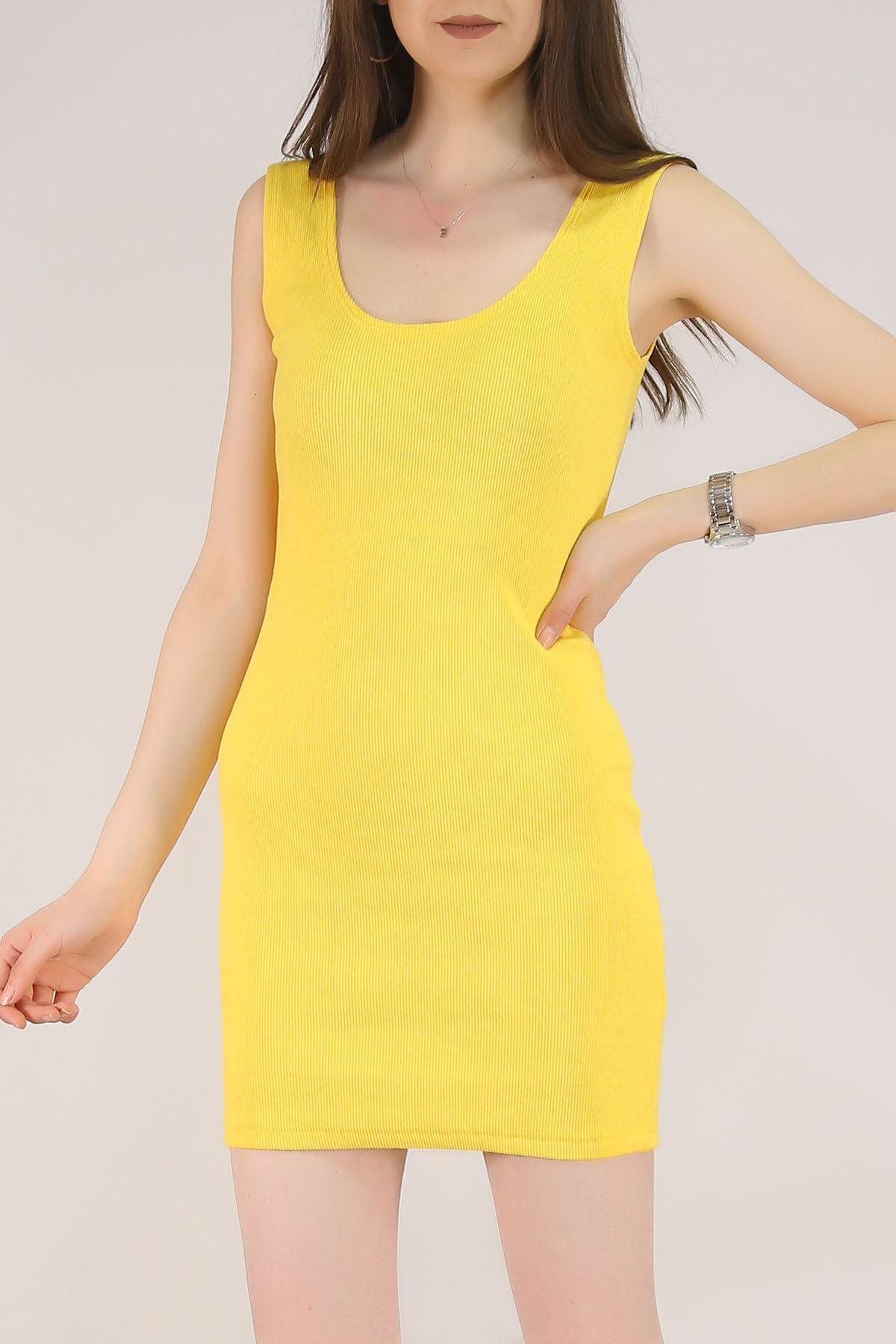Kalın Askılı Elbise Sarı - 5533.281.