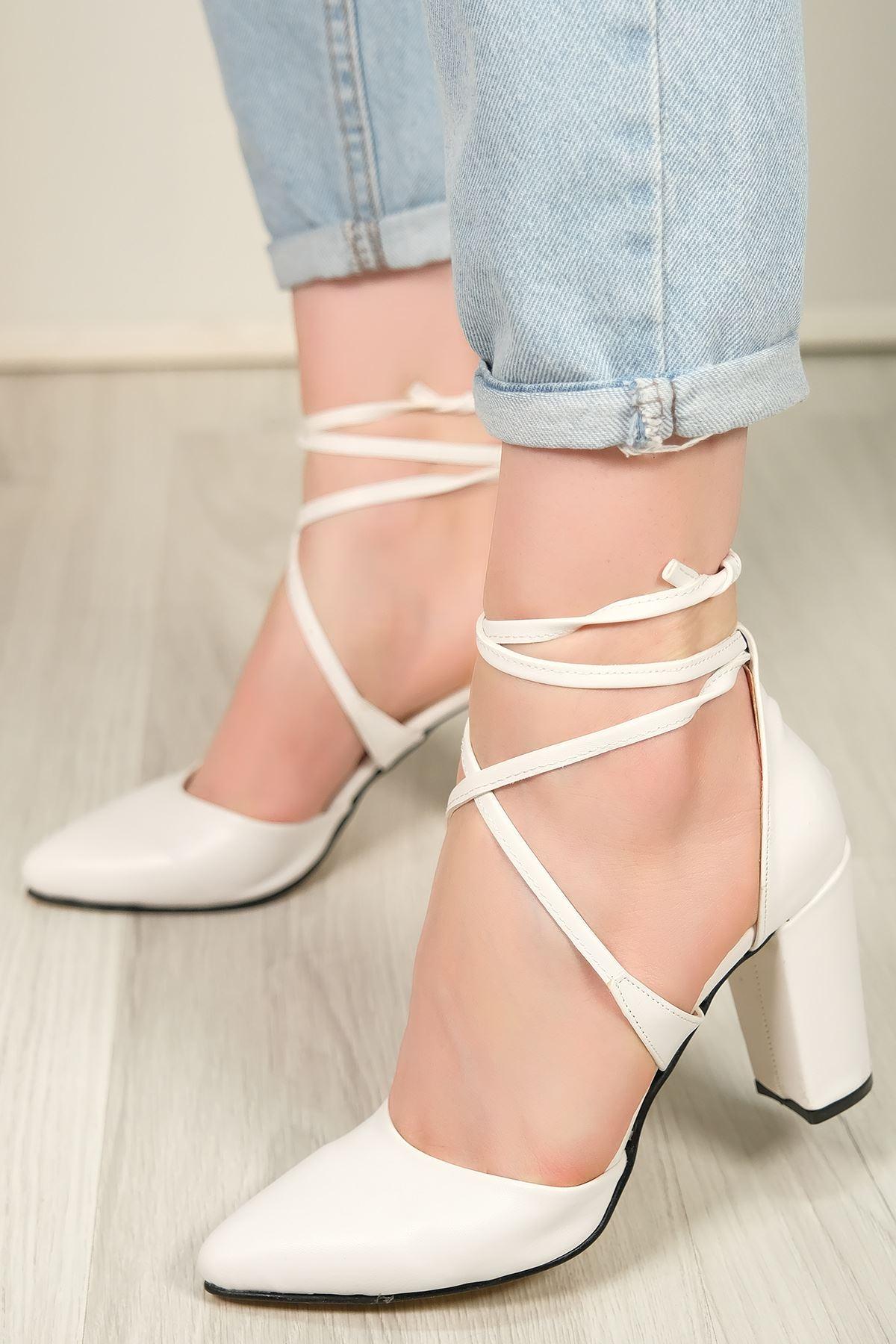 7 Cm Topuklu Ayakkabı Beyaz - 5632.1371.