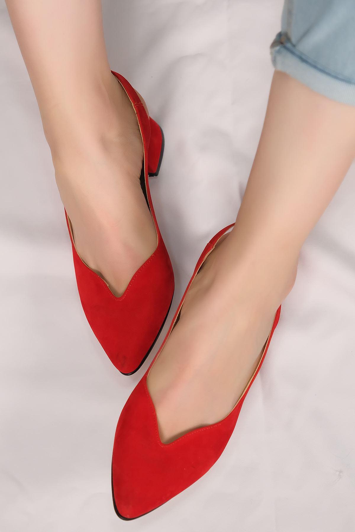 5 Cm Topuklu Ayakkabı Süetkırmızı - 5633.1371.