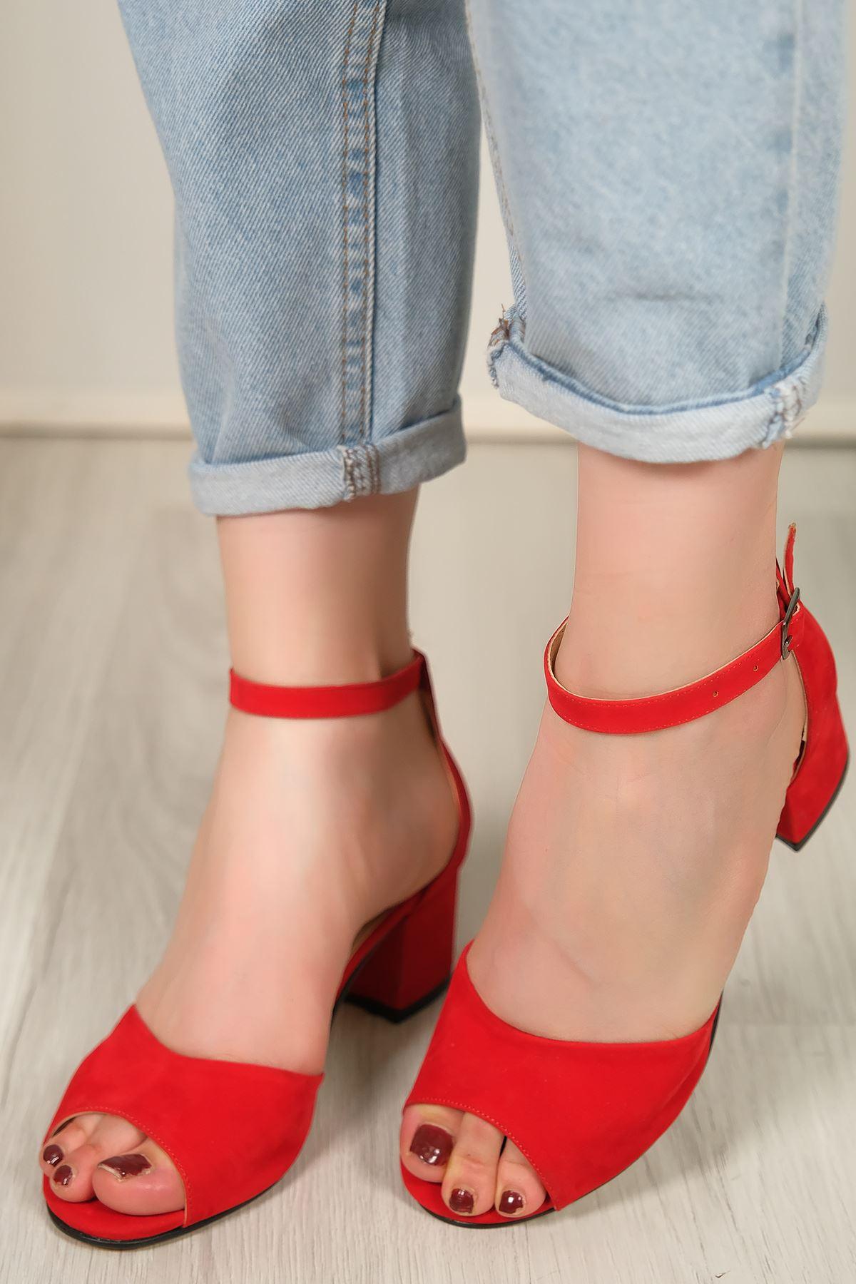 5 Cm Topuklu Ayakkabı Süetkırmızı - 5637.1371.