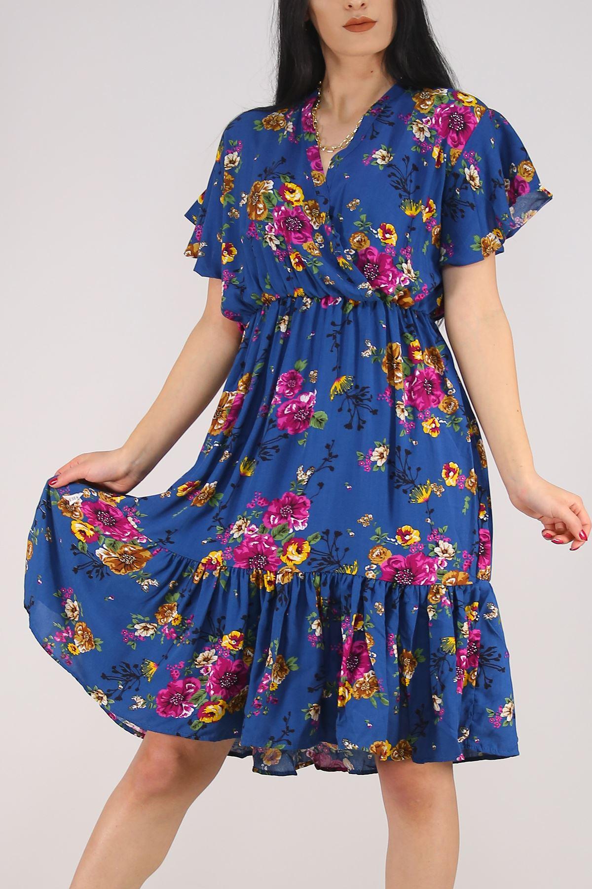 Kruvaze Yaka Elbise Mavi - 5372.701.