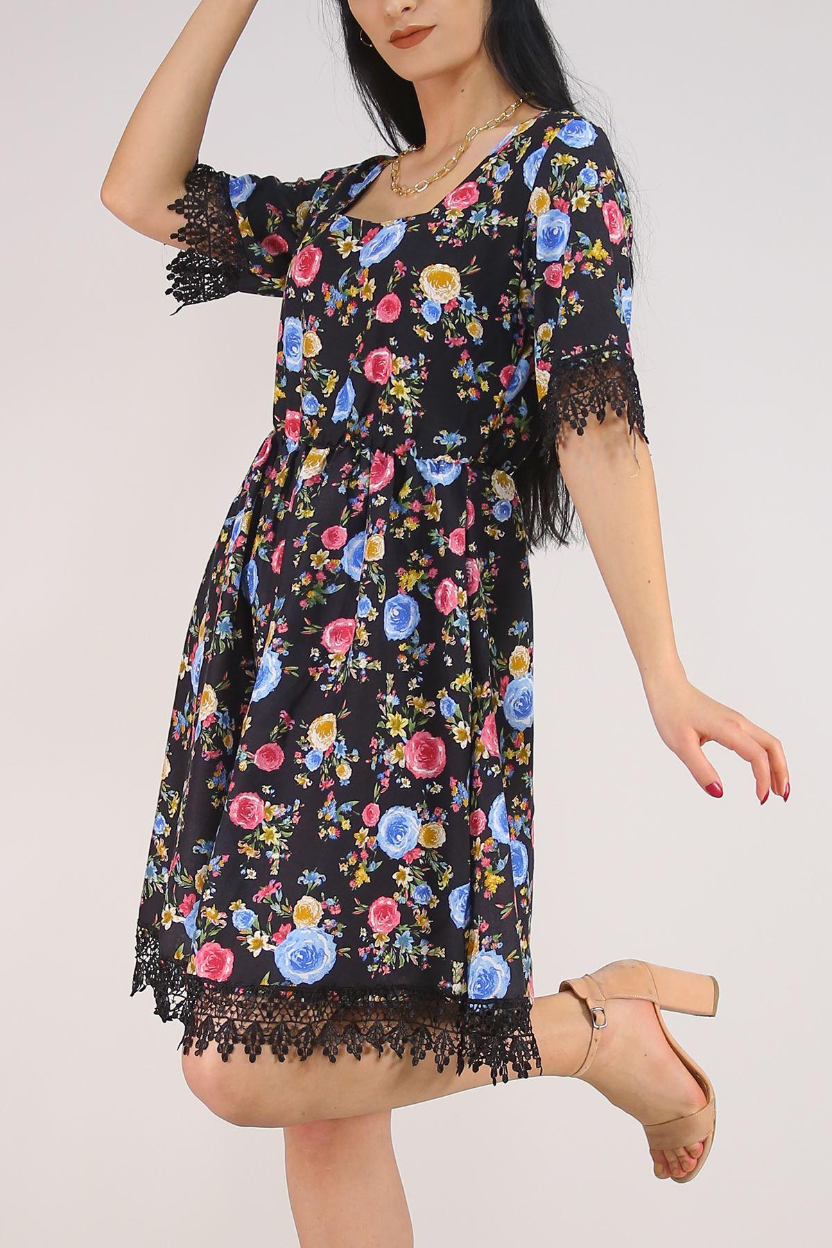 Güpür Garnili Elbise Siyahmavi - 5580.701.