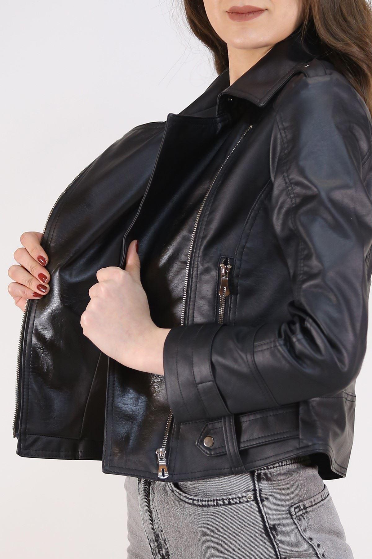 Kolu Mahşetli Deri Ceket Siyah - 1015.1368. Toptan