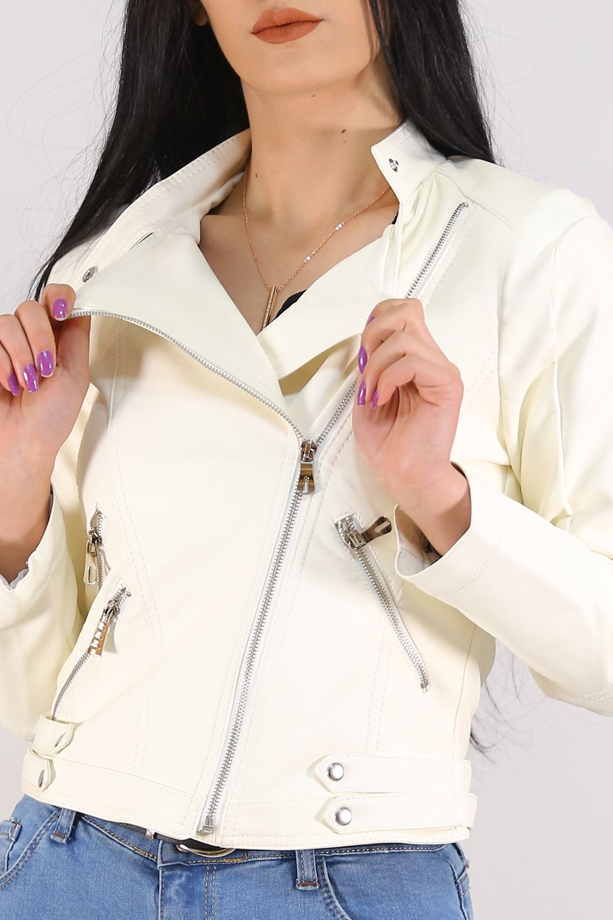 Çift Fermuarlı Deri Ceket Beyaz - 1004.1368. Toptan