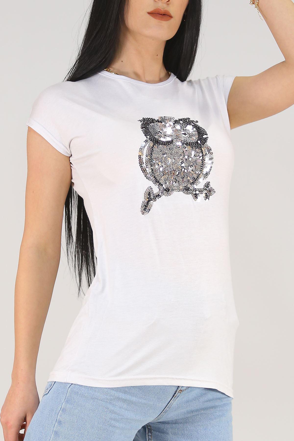 Pullu Baykuş Tişört Beyaz - 5030.139.