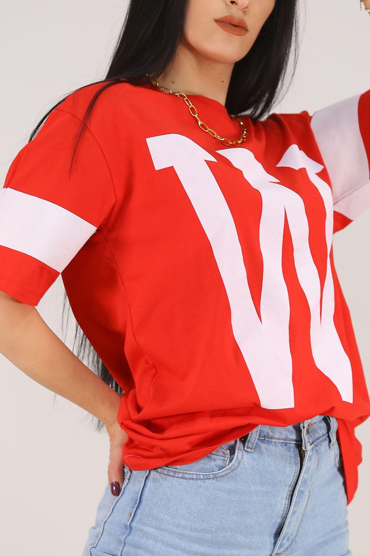 W Baskılı Tişört Kırmızı - 5606.1247.