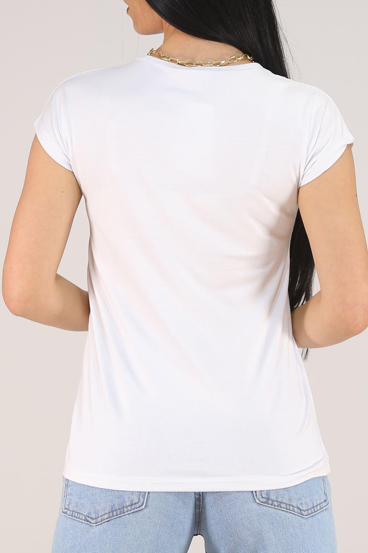 Pullu Tişört Beyaz - 5651.139.