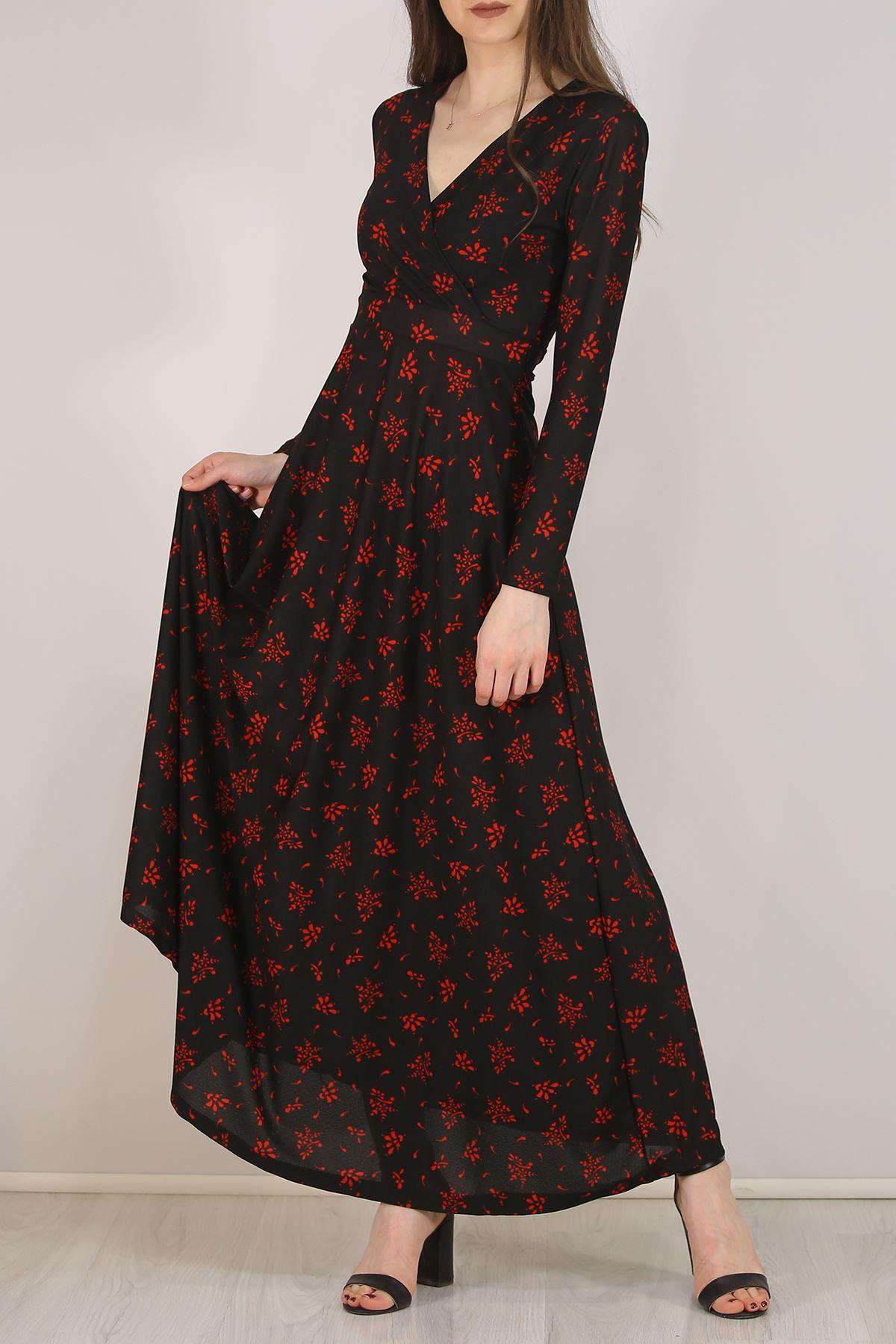 Çiçekli Elbise Kırmızısiyah - 4987.716.