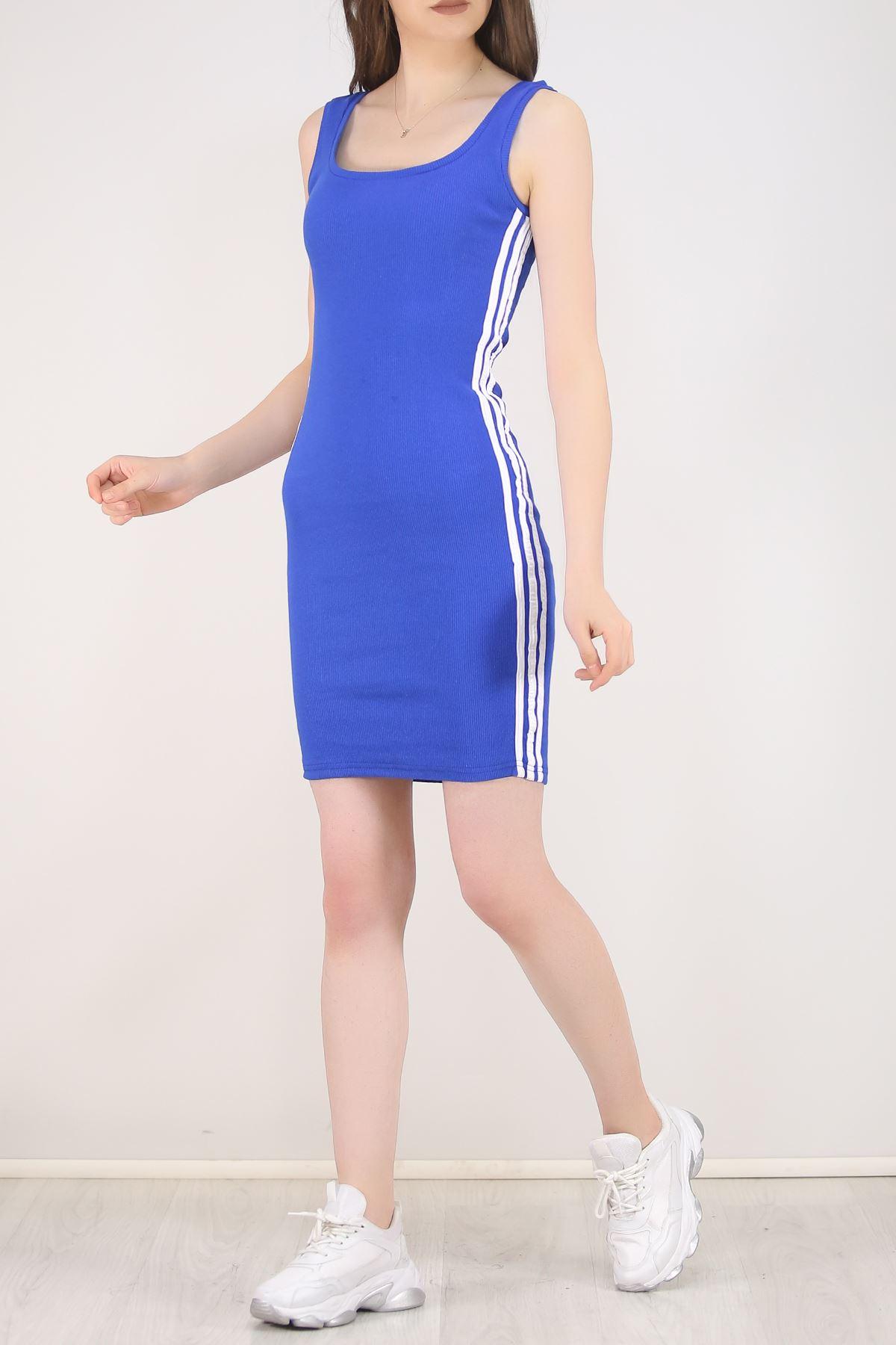 Kaşkorse Şeritli Elbise Saks - 5693.316.
