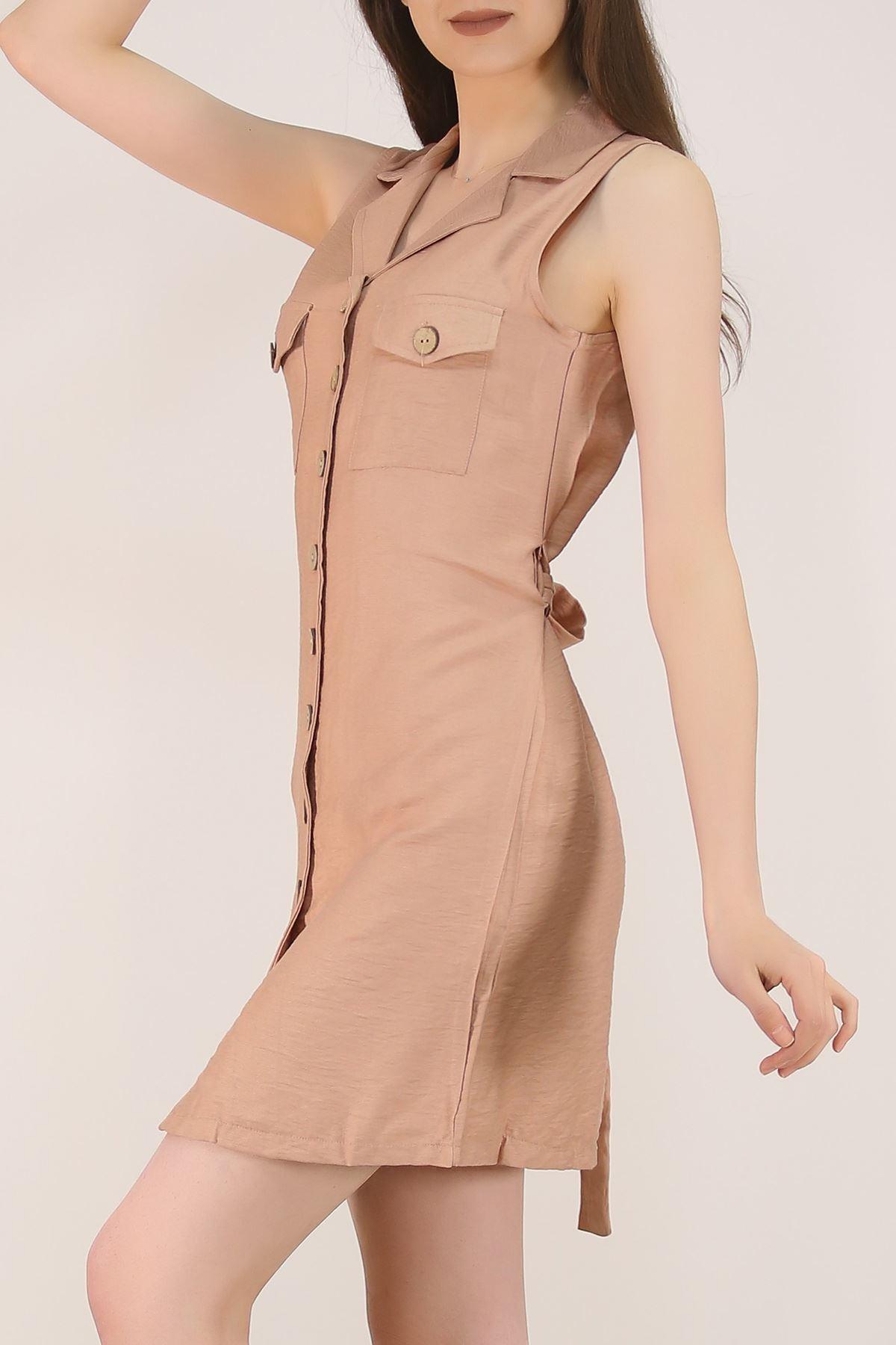 Kolsuz Kuşaklı Elbise Vizon - 20024.200.