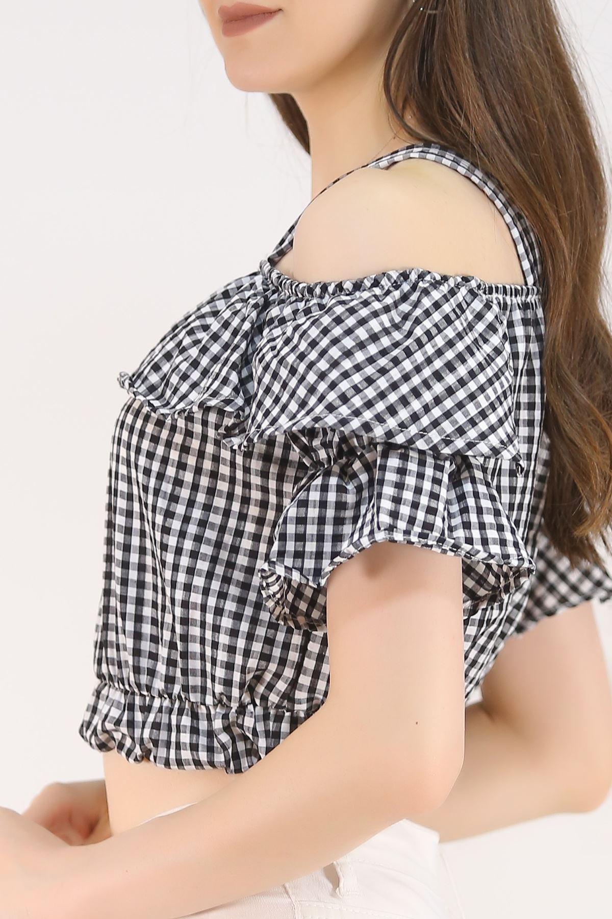 Askılı Crop Bluz Siyah - 4718.148.