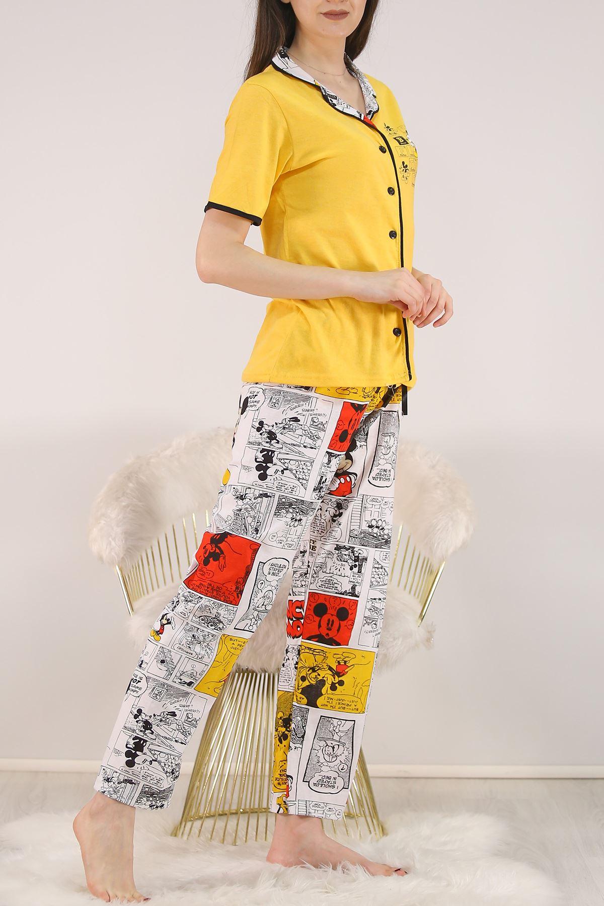 Düğmeli Pijama Takımı Desenlisarı - 4782.102.