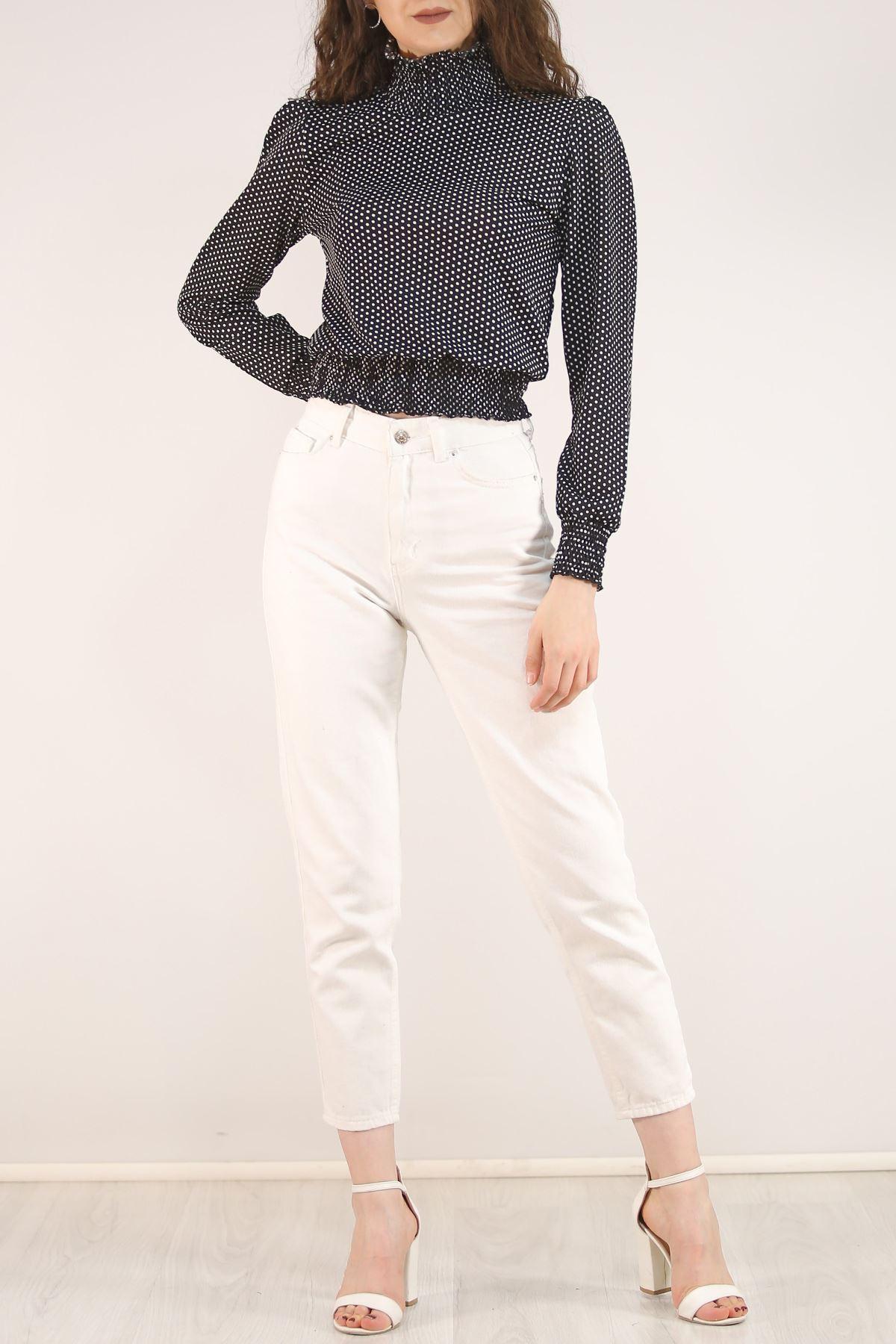 Yarım Balıkçı Bluz Beyazpuanlı - 5205.224.
