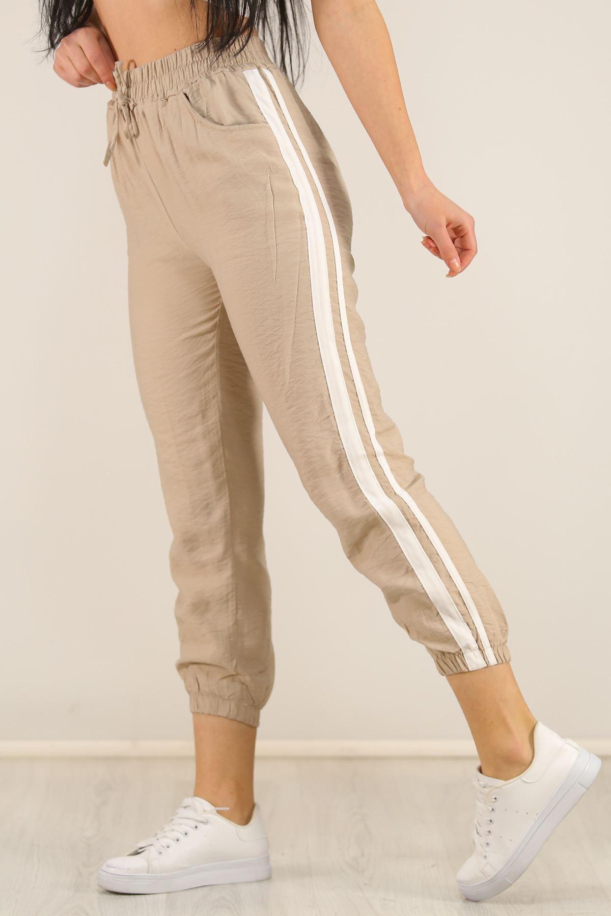Şeritli Ayrobin Spor Pantolon Taş - 5750.107.
