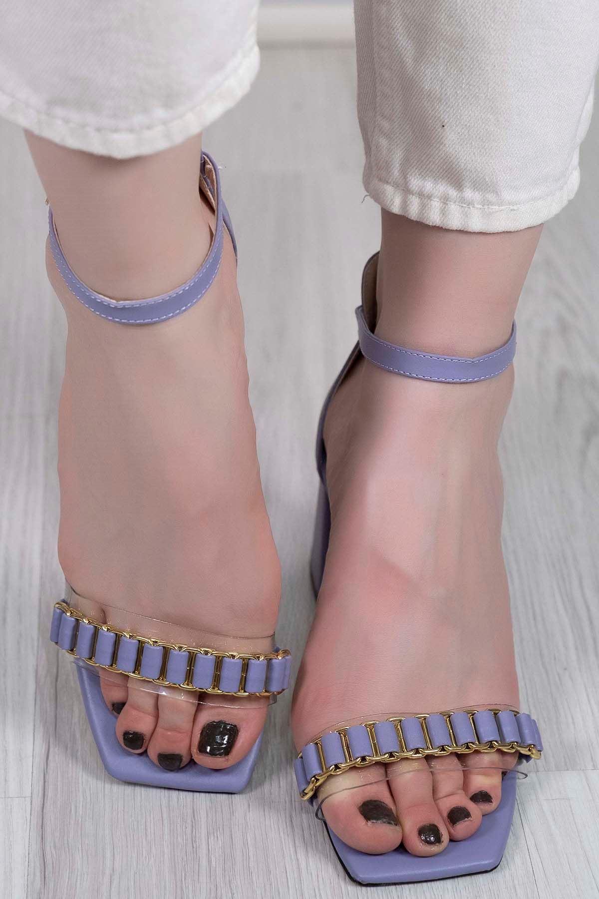 7 Cm Topuklu Ayakkabı Lila - 5576.264.
