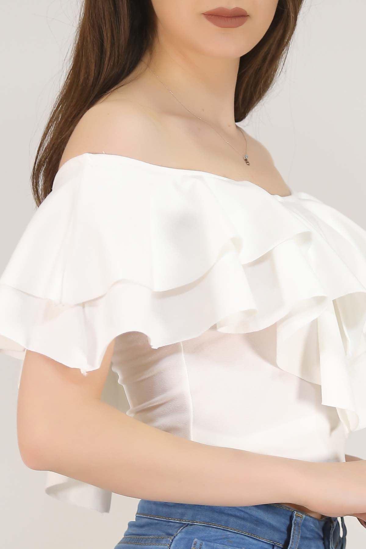 Volanlı Bluz Beyaz - 3998.148.