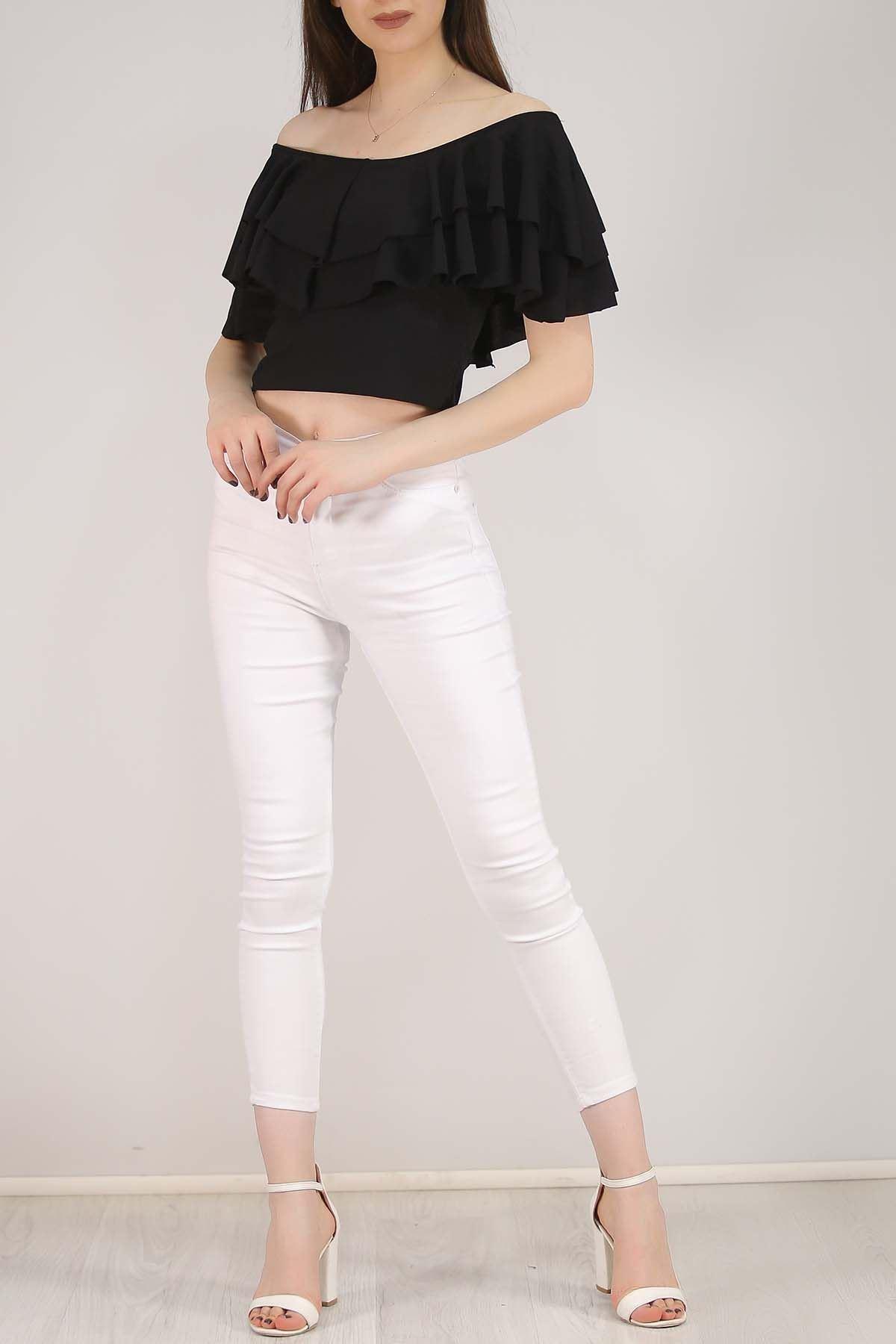 Volanlı Bluz Siyah - 3998.148.