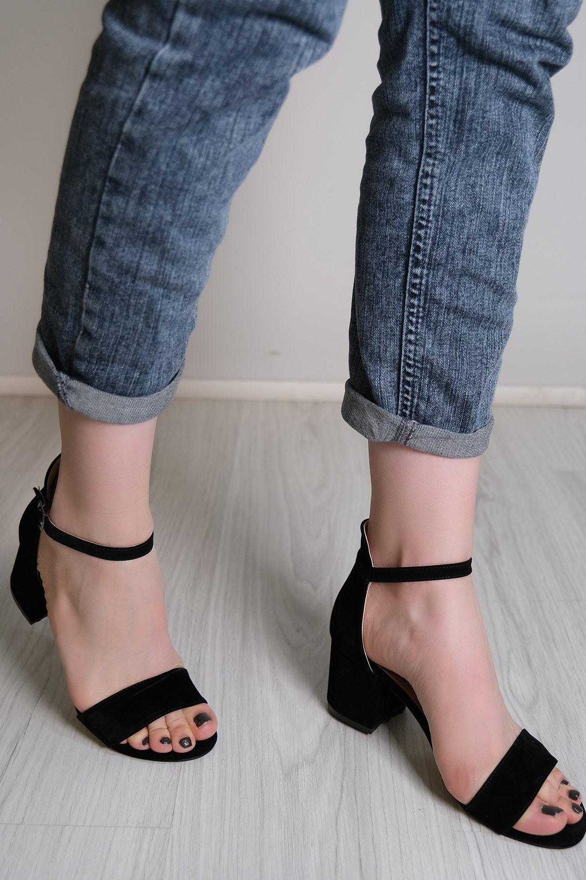 5 Cm Topuklu Ayakkabı Süetsiyah - 5780.264.
