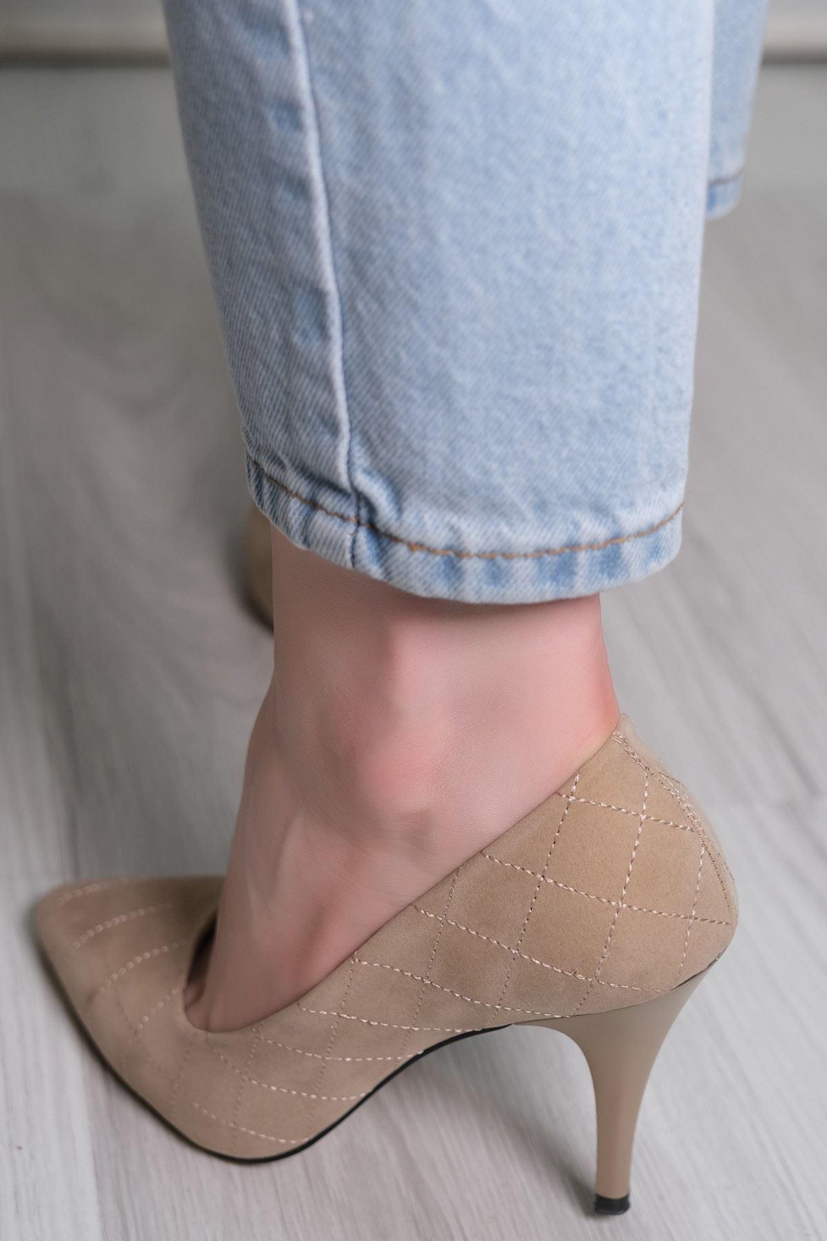 9 Cm Topuklu Ayakkabı Süetbej - 5781.264.