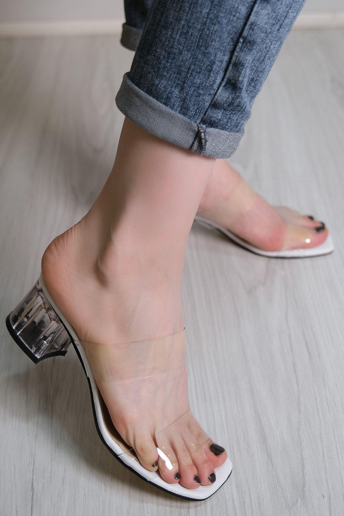 5 Cm Şeffaf Topuklu Ayakkabı Beyaz - 5782.264.