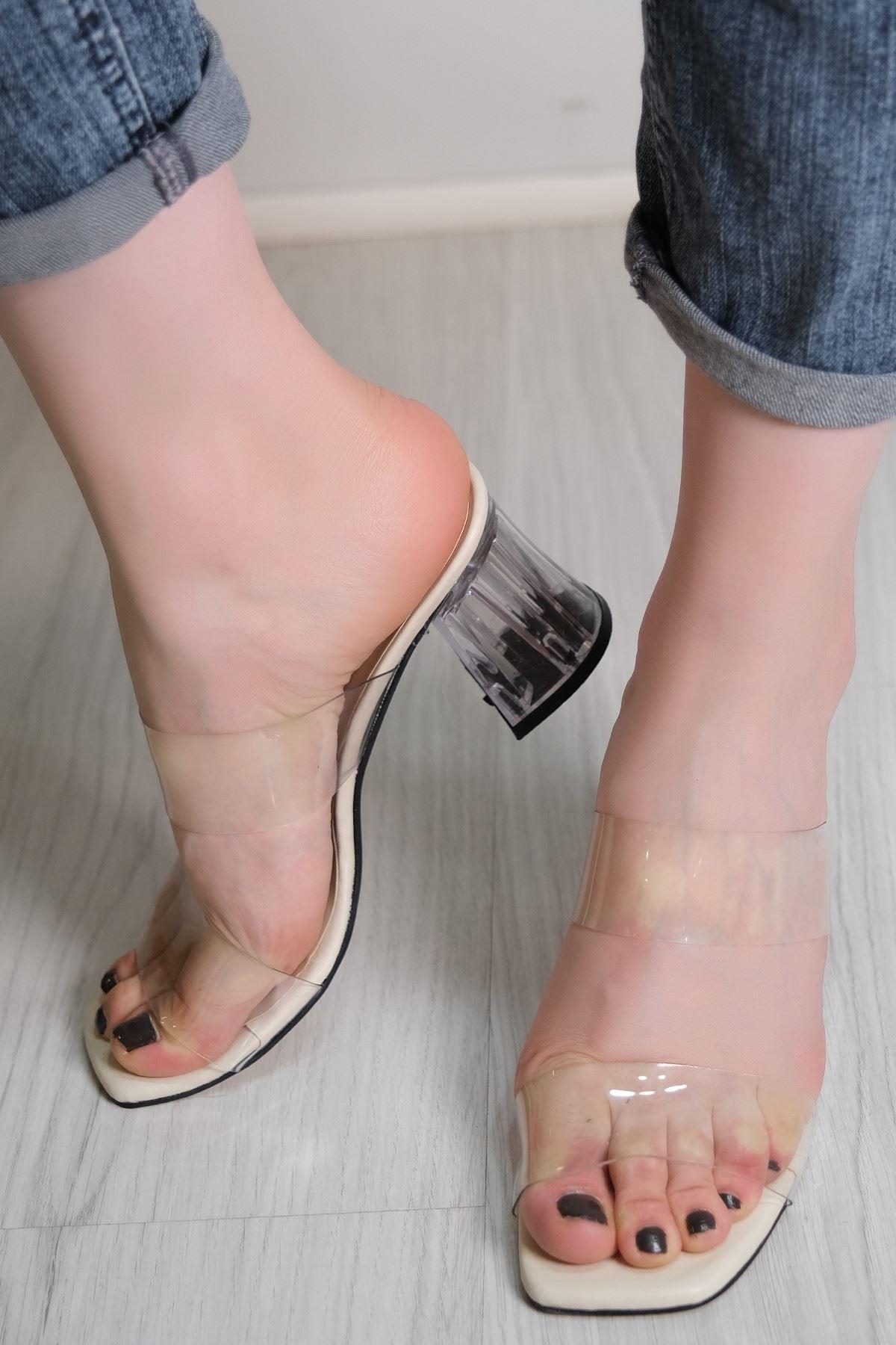 7 Cm Şeffaf Topuklu Ayakkabı Krem - 5785.264.