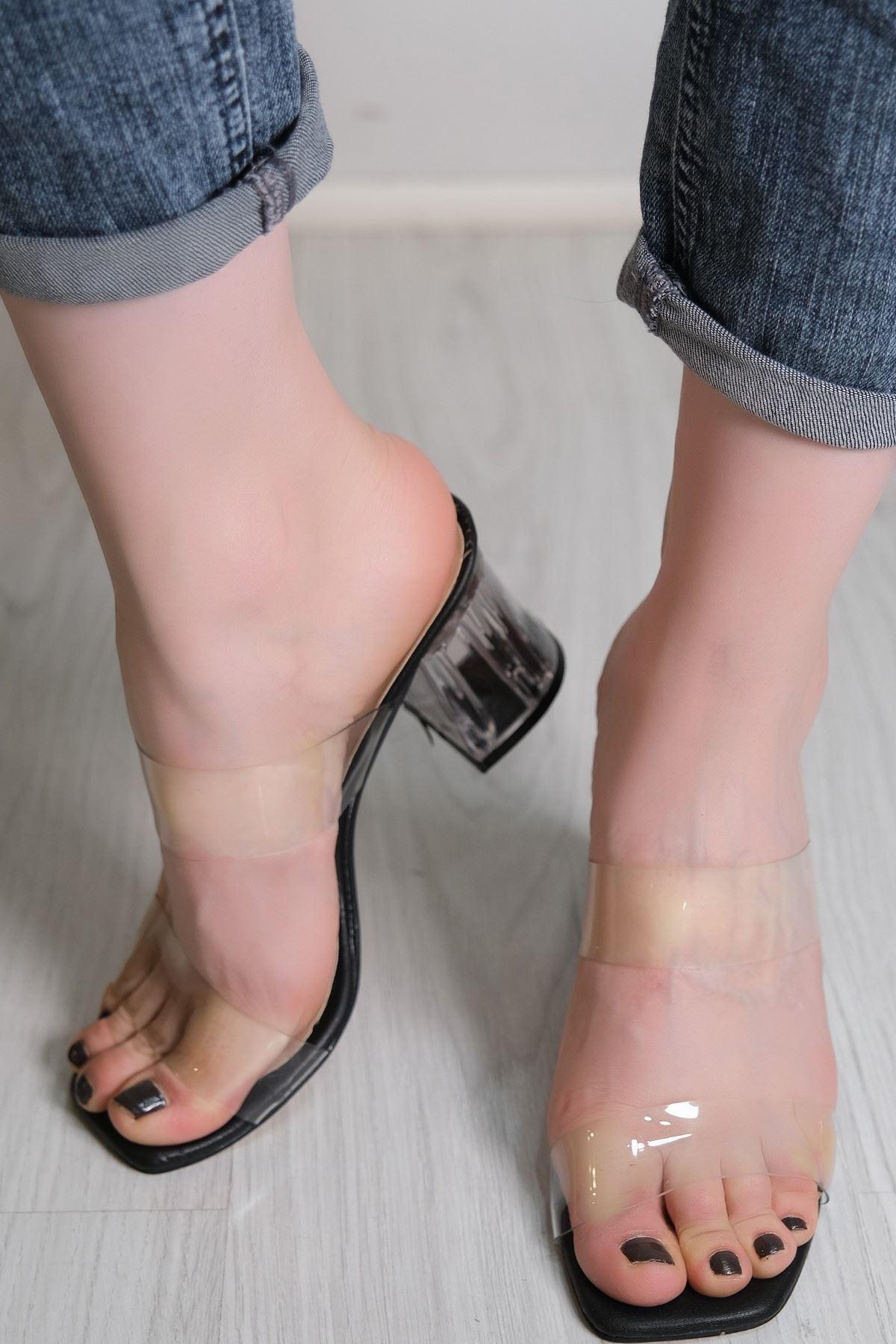 7 Cm Şeffaf Topuklu Ayakkabı Siyahderi - 5785.264.