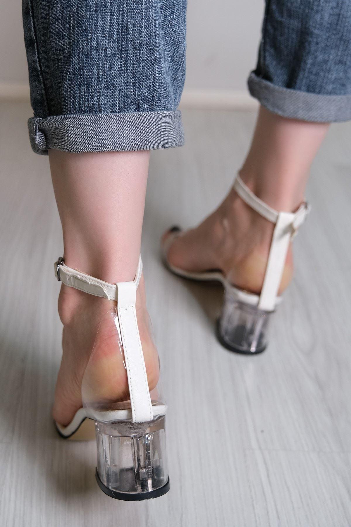 5 Cm Şeffaf Topuklu Ayakkabı Beyaz - 5788.264.