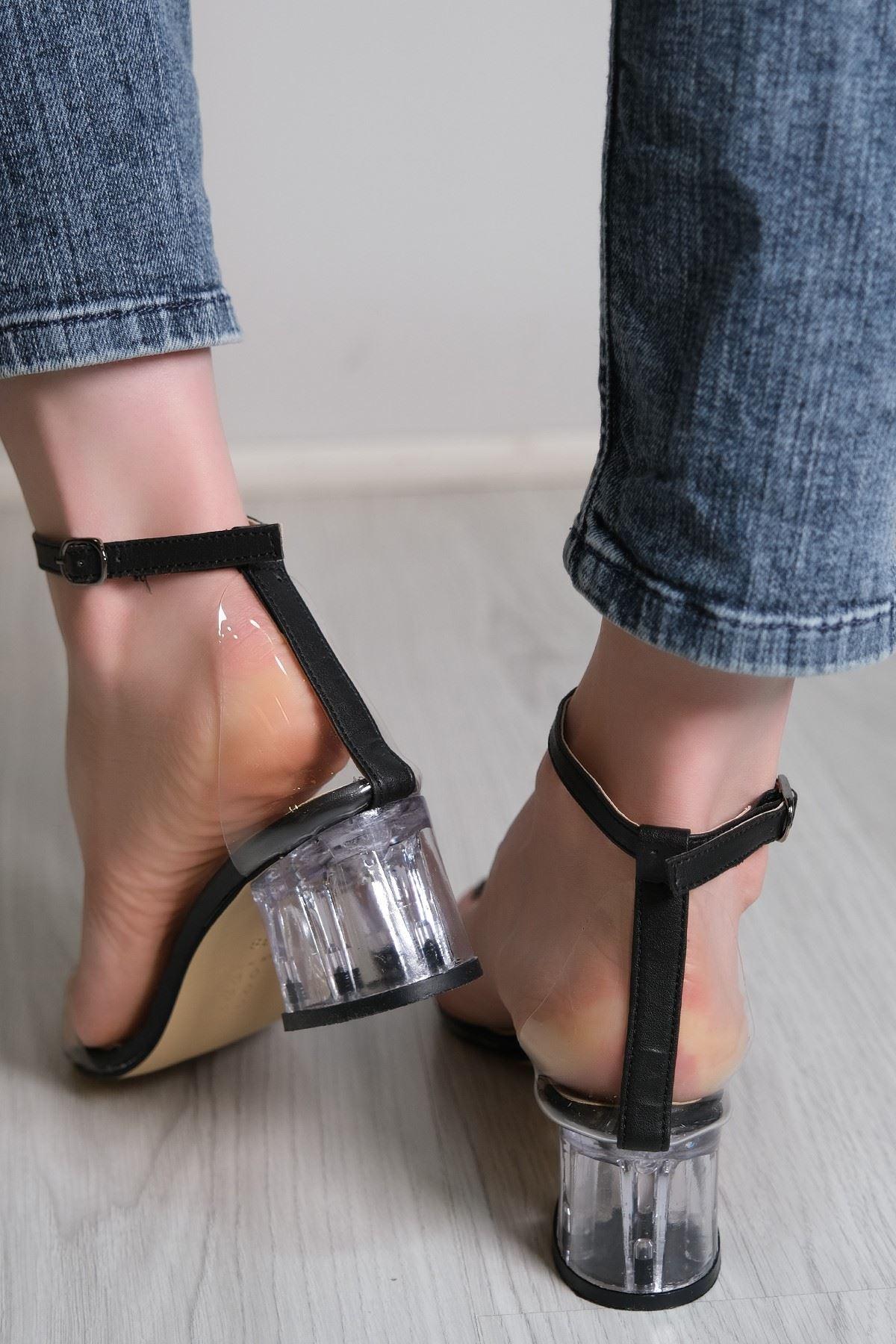 5 Cm Şeffaf Topuklu Ayakkabı Siyahderi - 5788.264.