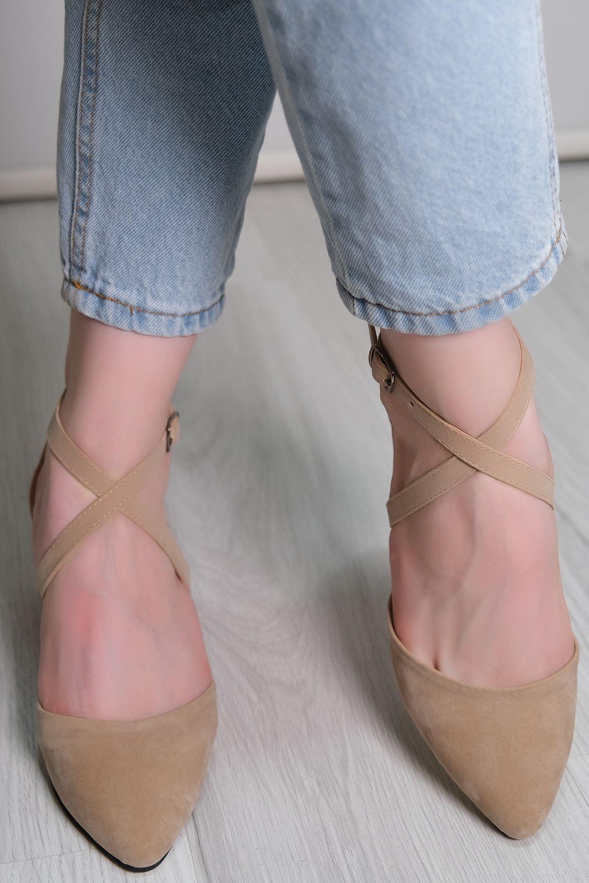 5 Cm Topuklu Ayakkabı Süetbej - 5790.264.