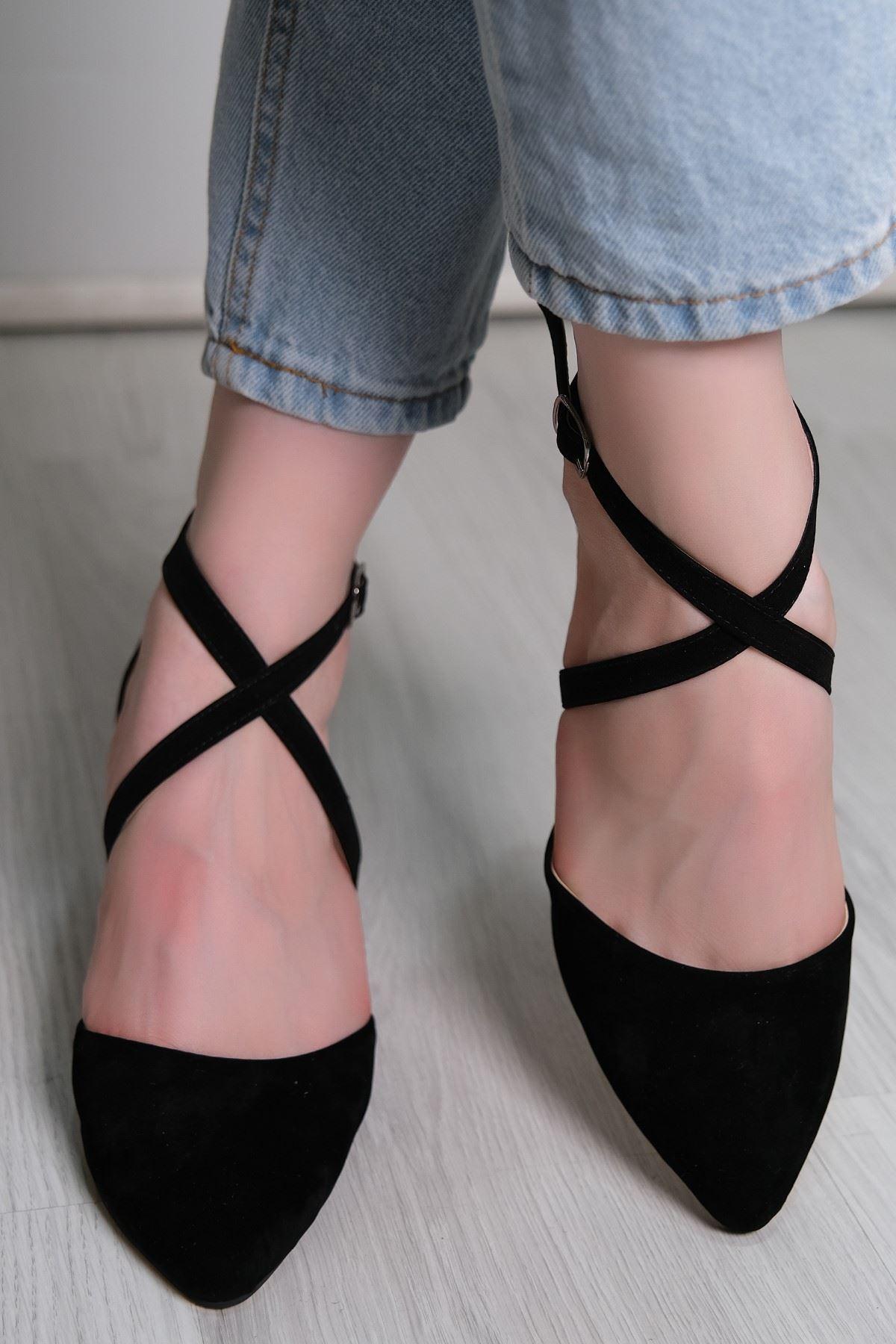 5 Cm Topuklu Ayakkabı Süetsiyah - 5790.264.