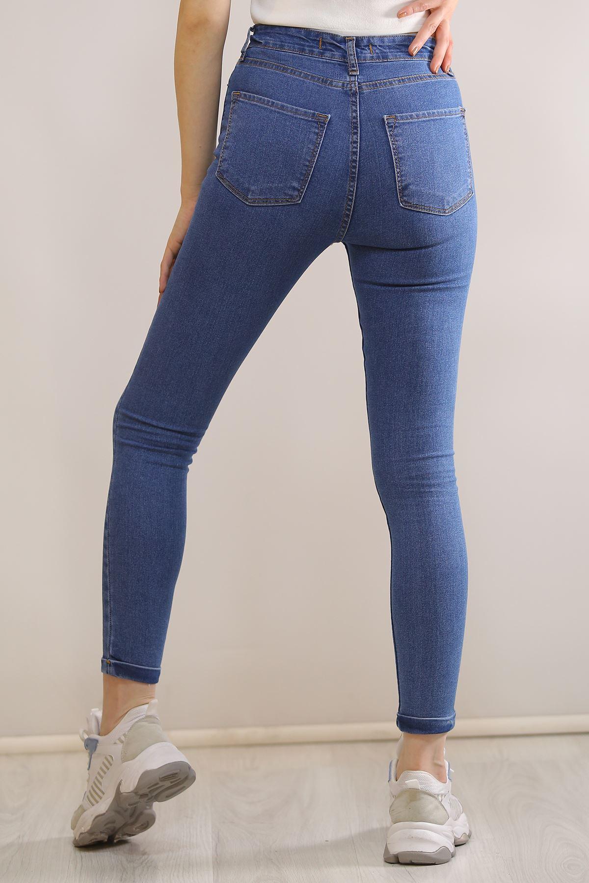 Tırnaklı Kot Pantolon Mavi - 5794.299.