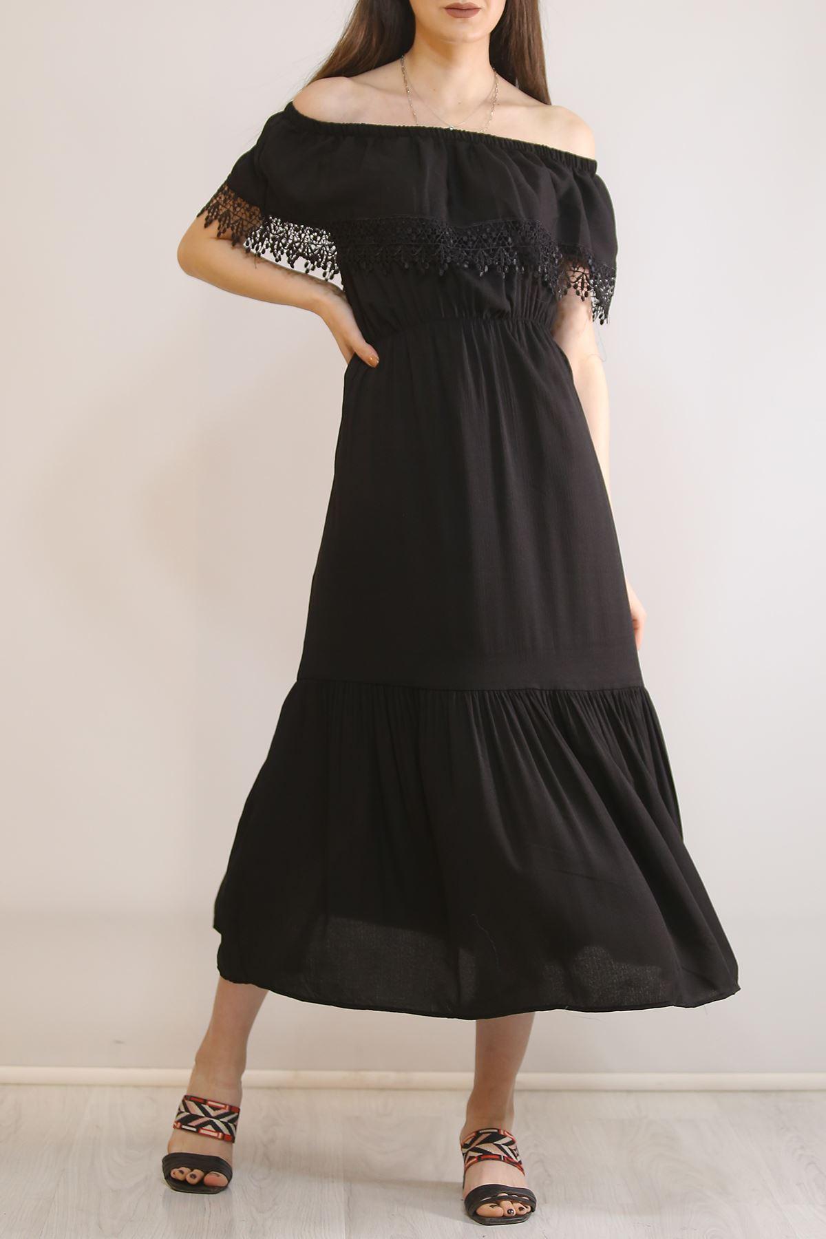 Madonna Yaka Güpürlü Elbise Siyah - 5797.701.