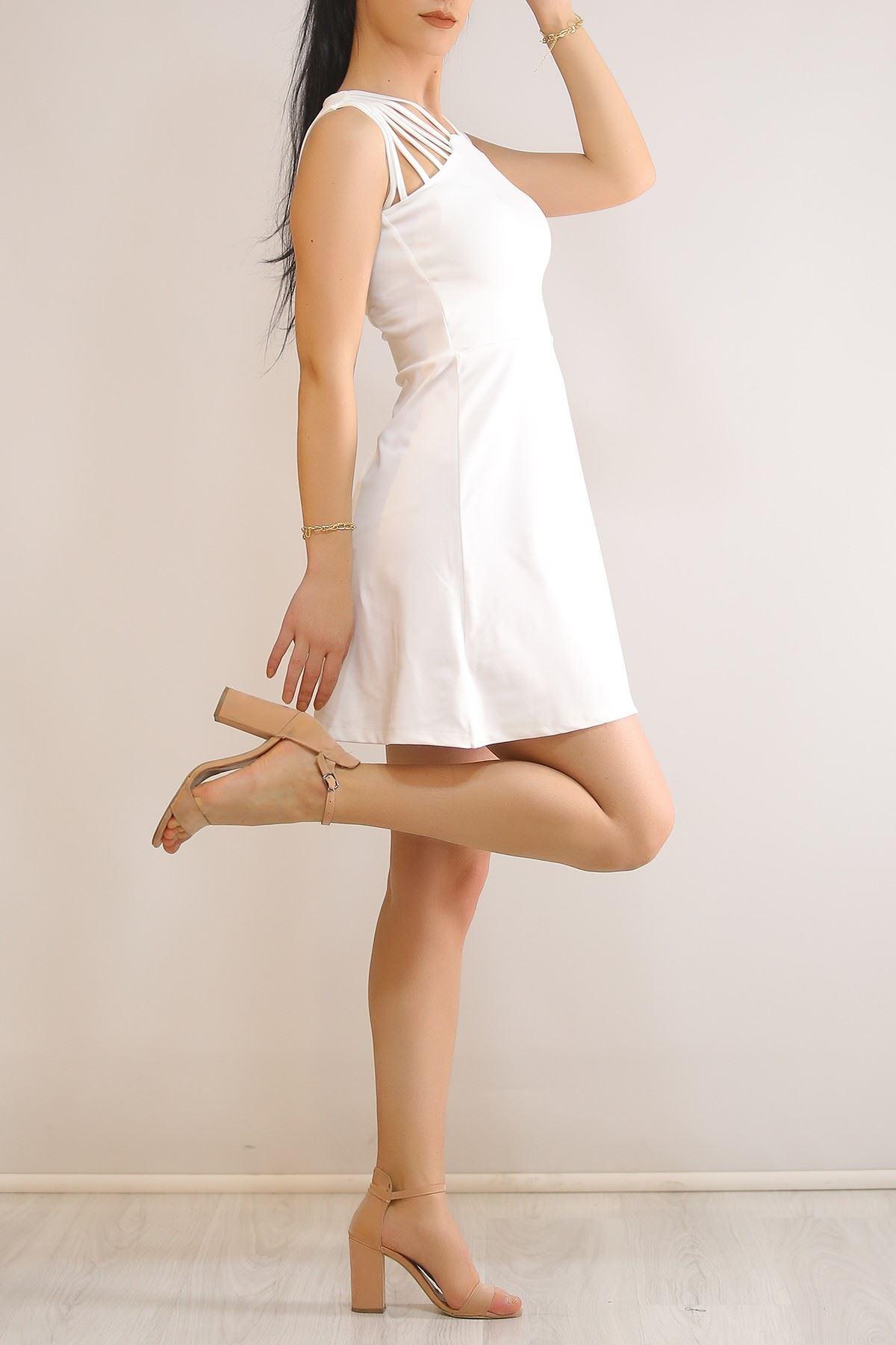 İpli Kloş Elbise Beyaz - 5742.1357.