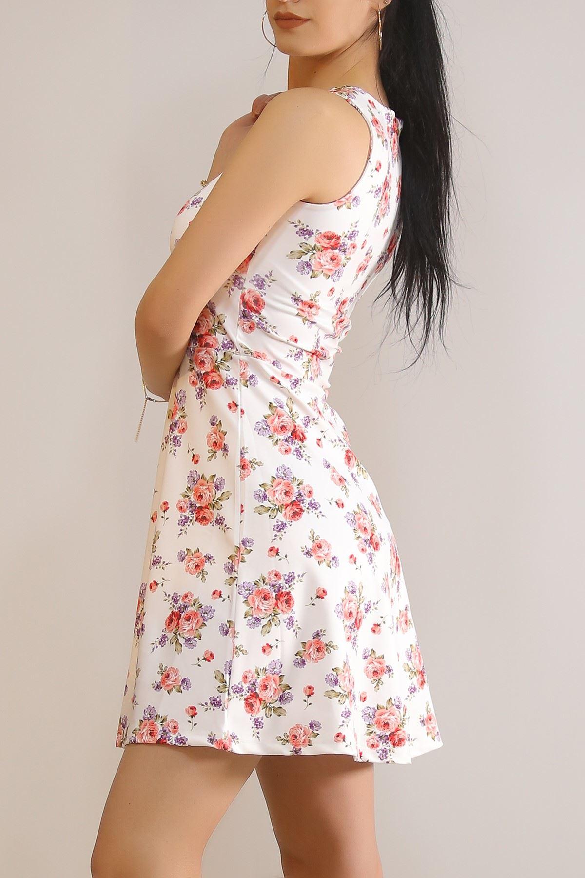 V Yaka Kiloş Elbise Beyazçiçekli - 5811.1357.