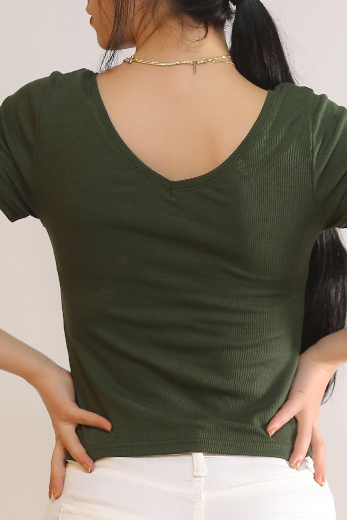 Ön Arka V Yaka Bluz Yeşil - 5311.1092.