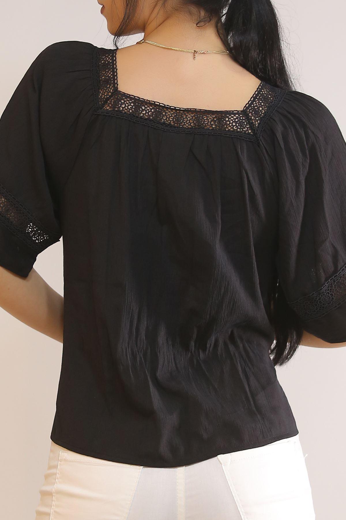 Kare Yaka Bluz Siyah2 - 5598.107.