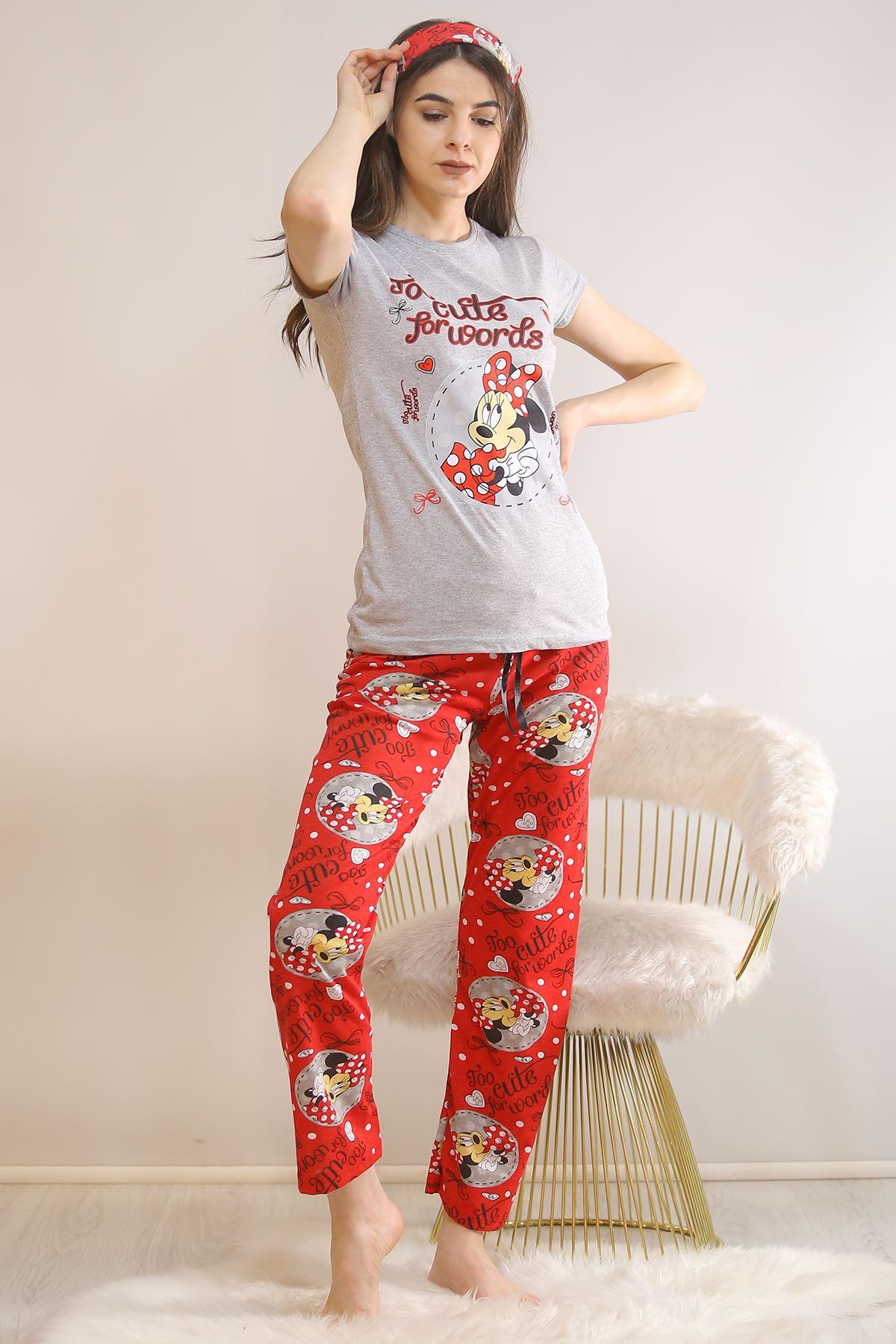 Baskılı Pijama Takımı Gri - 5813.102.