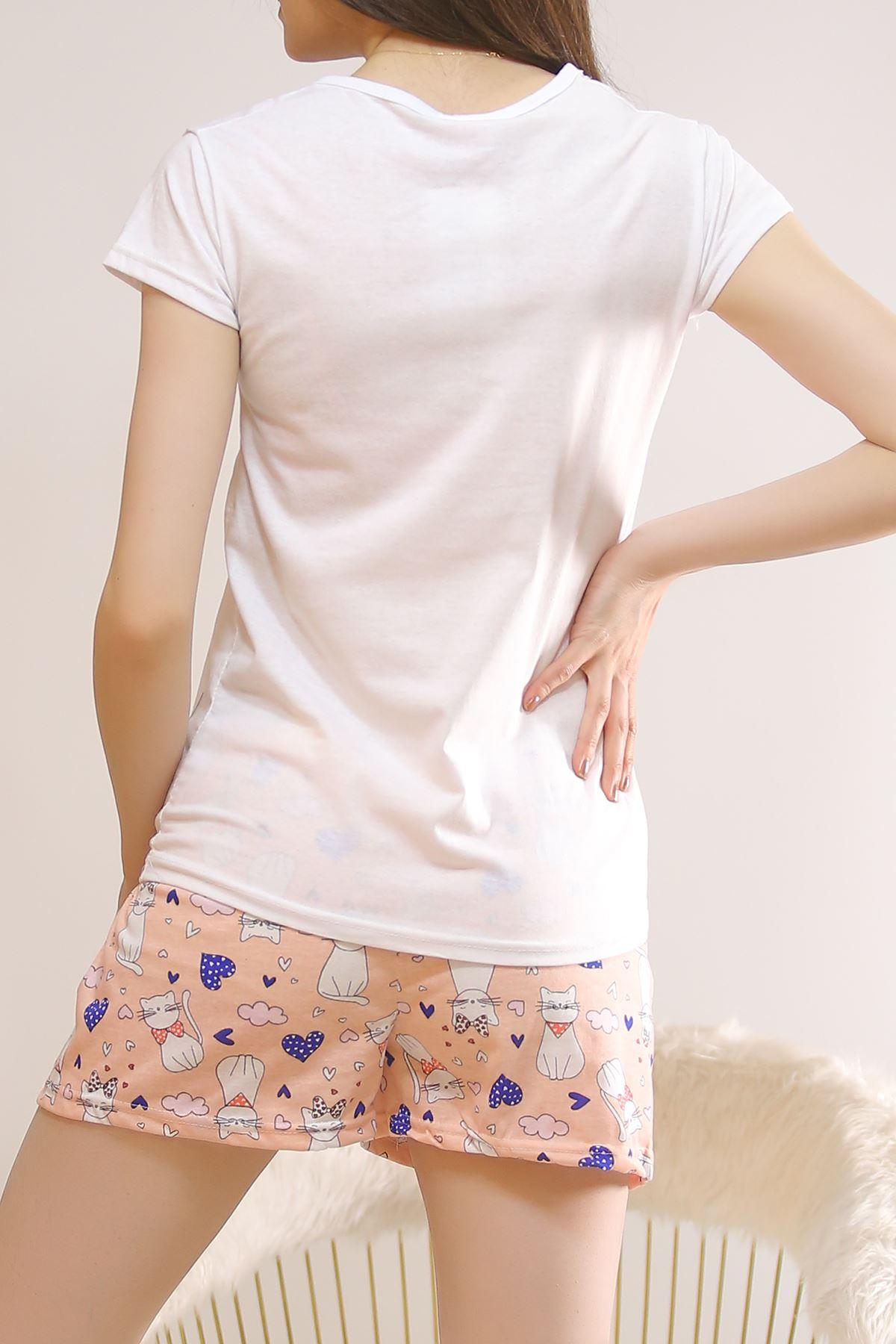 Şortlu Pijama Takımı Beyaz - 5814.102.