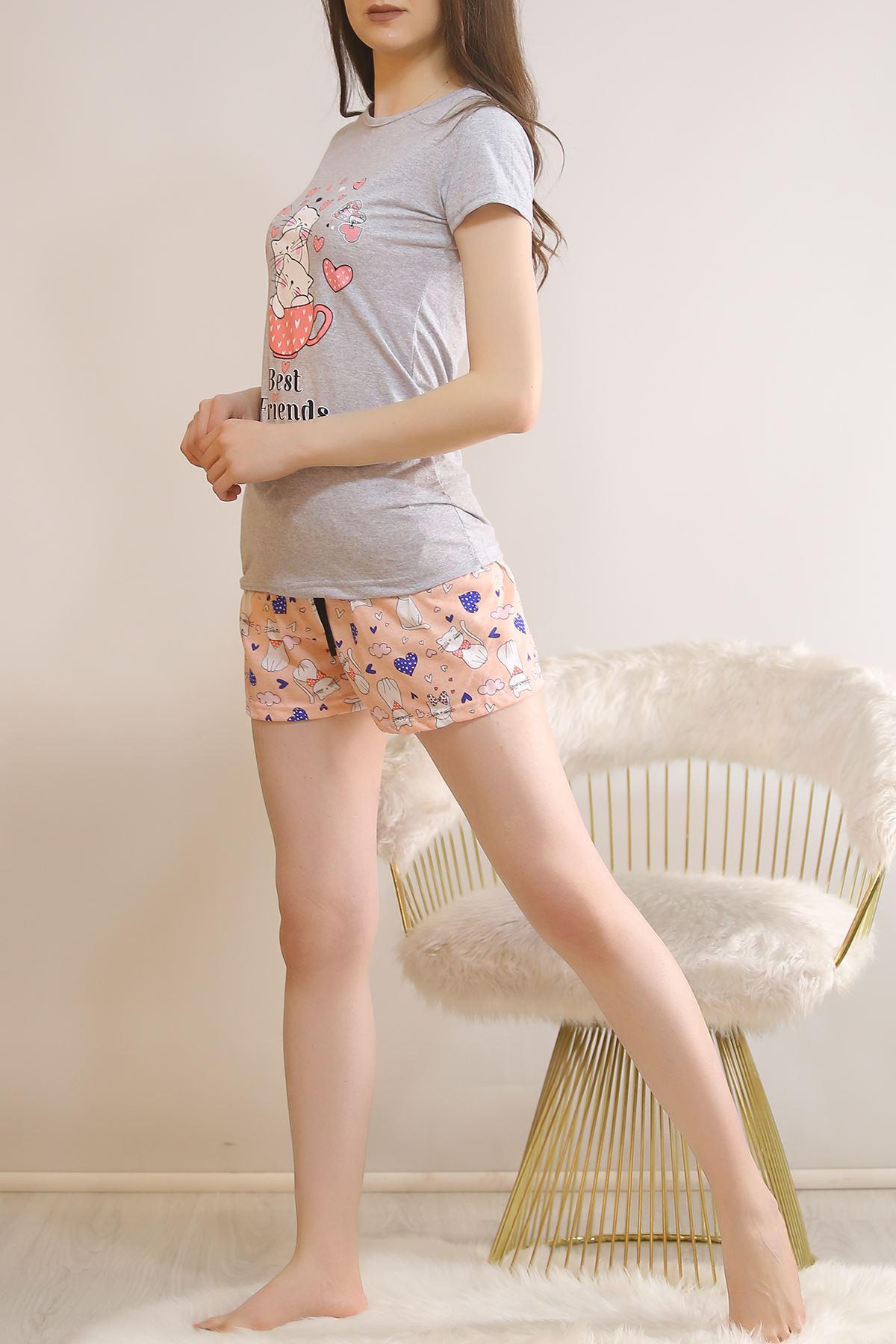 Şortlu Pijama Takımı Gri - 5814.102.